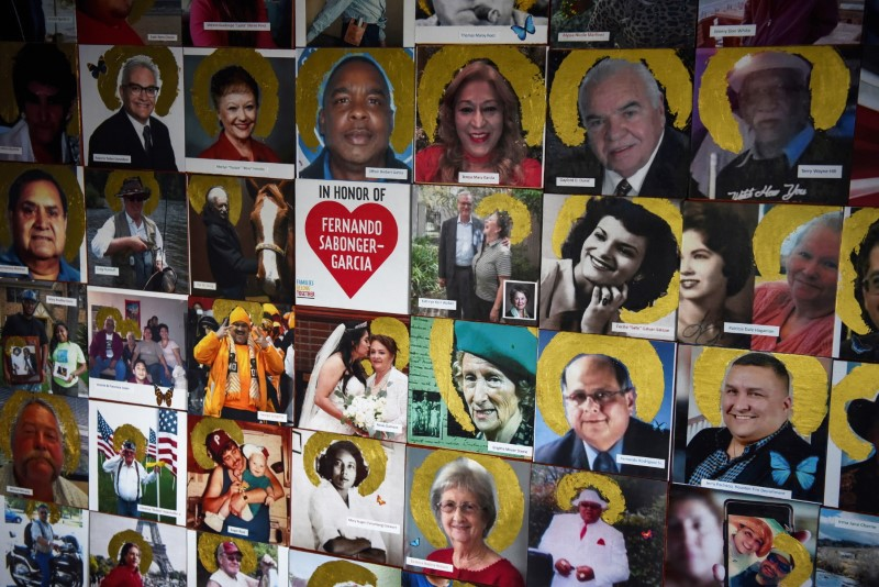 A portion of a mural, which displays images of people who have died of coronavirus disease (COVID-19), is seen in Joni Zavitsanos' art studio as the country reaches 600,000 deaths in Houston, Texas, U.S., June 10, 2021.   REUTERS/Callaghan O'Hare
