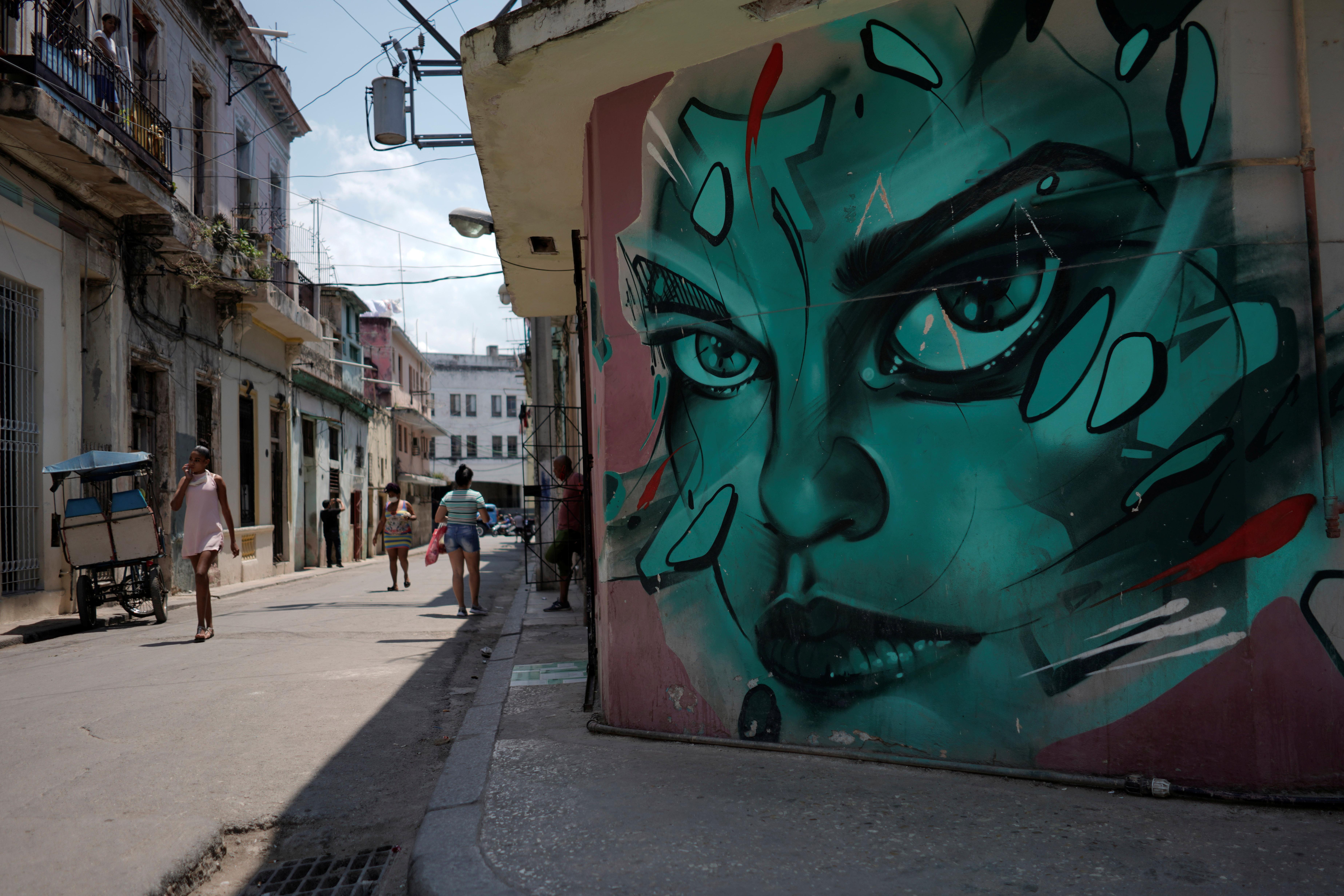 A view of a painting in San Isidro road in Havana, Cuba, April 6, 2021. REUTERS/Alexandre Meneghini