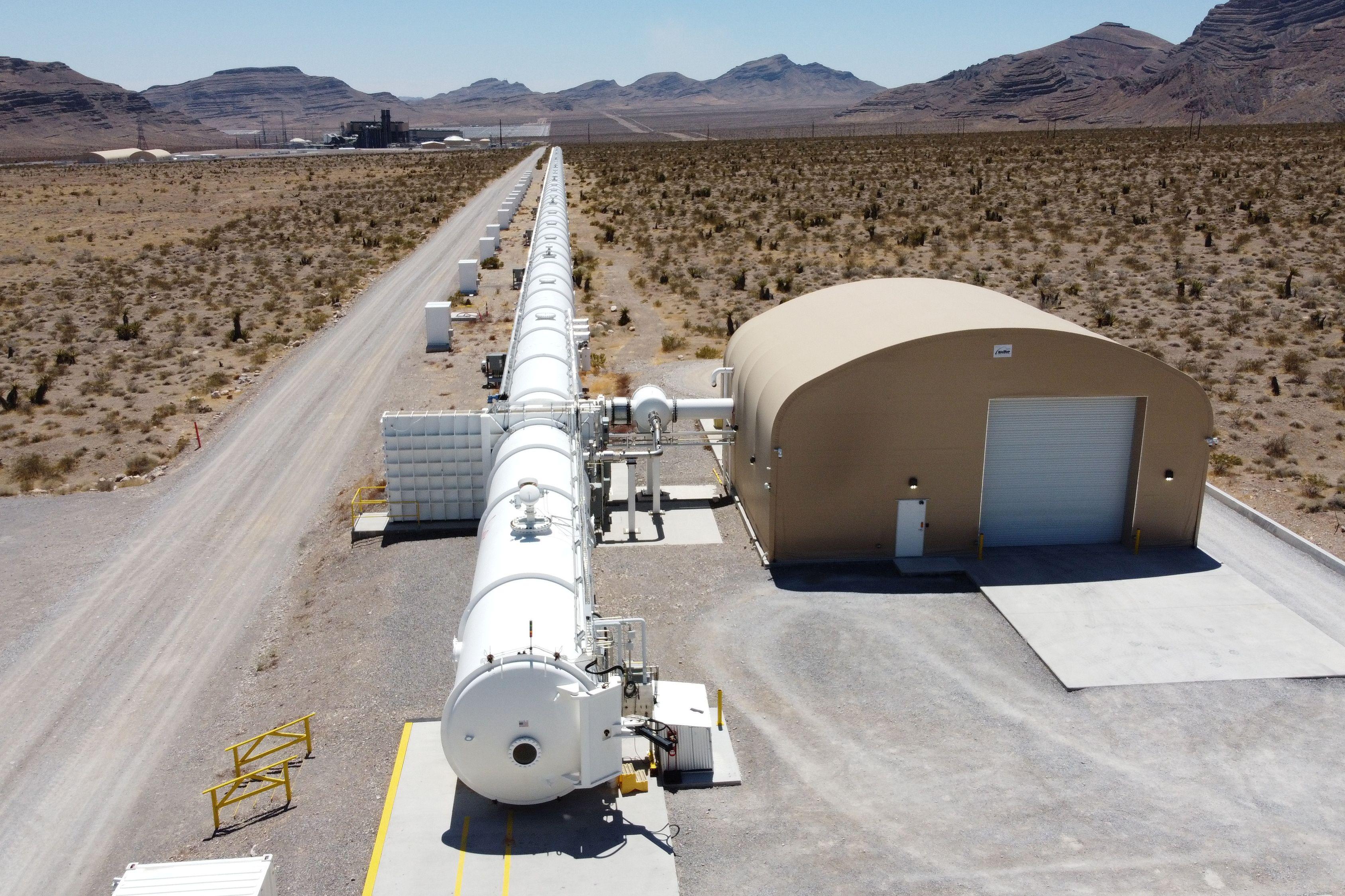 A test hyperloop tube is seen at the Virgin Hyperloop facility near Las Vegas, Nevada, May 5, 2021. REUTERS/Mike Blake