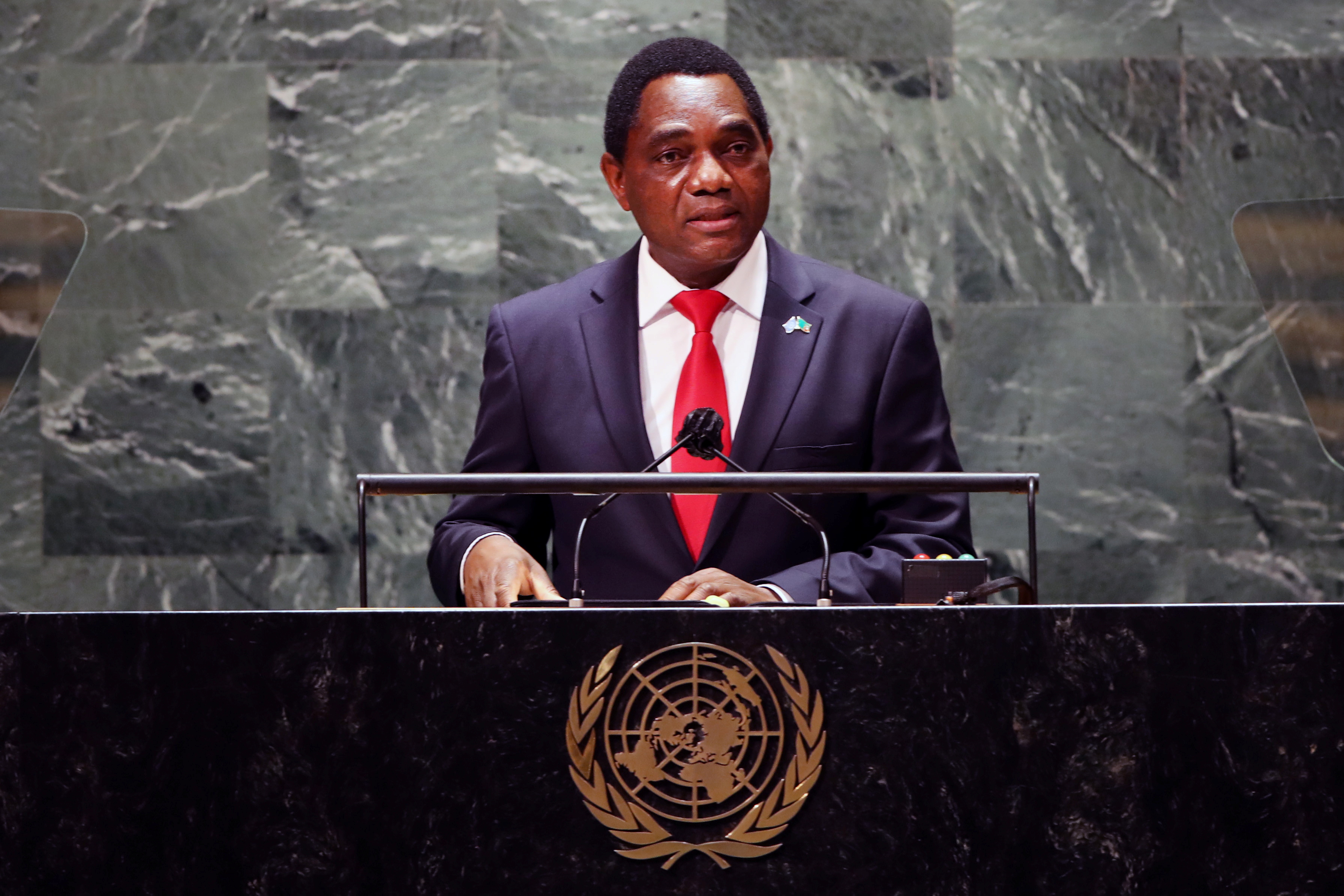 Zambia's President Hakainde Hichilema addresses the 76th Session of the United Nations General Assembly at U.N. headquarters in New York, U.S. on September 21, 2021.  Spencer Platt/Pool via REUTERS