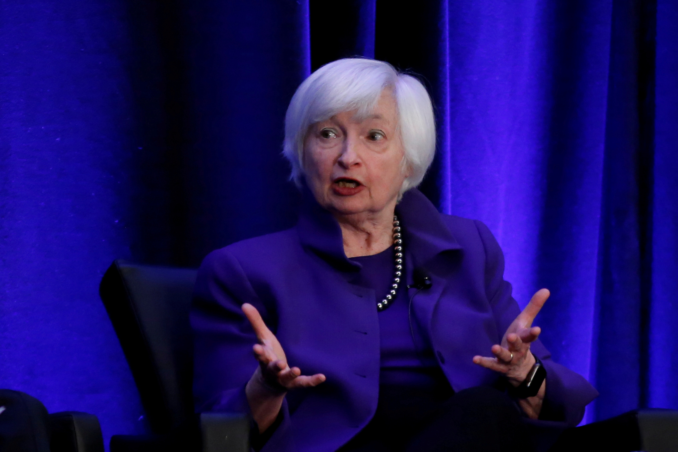 Former Federal Reserve Chairman Janet Yellen speaks during a panel discussion at the American Economic Association/Allied Social Science Association (ASSA) 2019 meeting in Atlanta, Georgia, U.S., January 4, 2019.  REUTERS/Christopher Aluka Berry