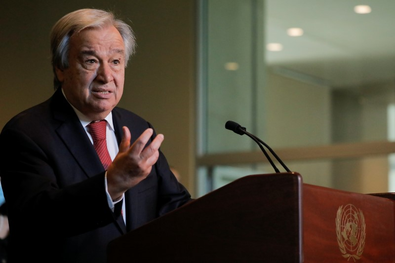 U.N. Secretary-General Antonio Guterres speaks as U.N. General Assembly appointed him for a second five-year term from January 1, 2022, in New York City, New York, U.S., June 18, 2021. REUTERS/Andrew Kelly