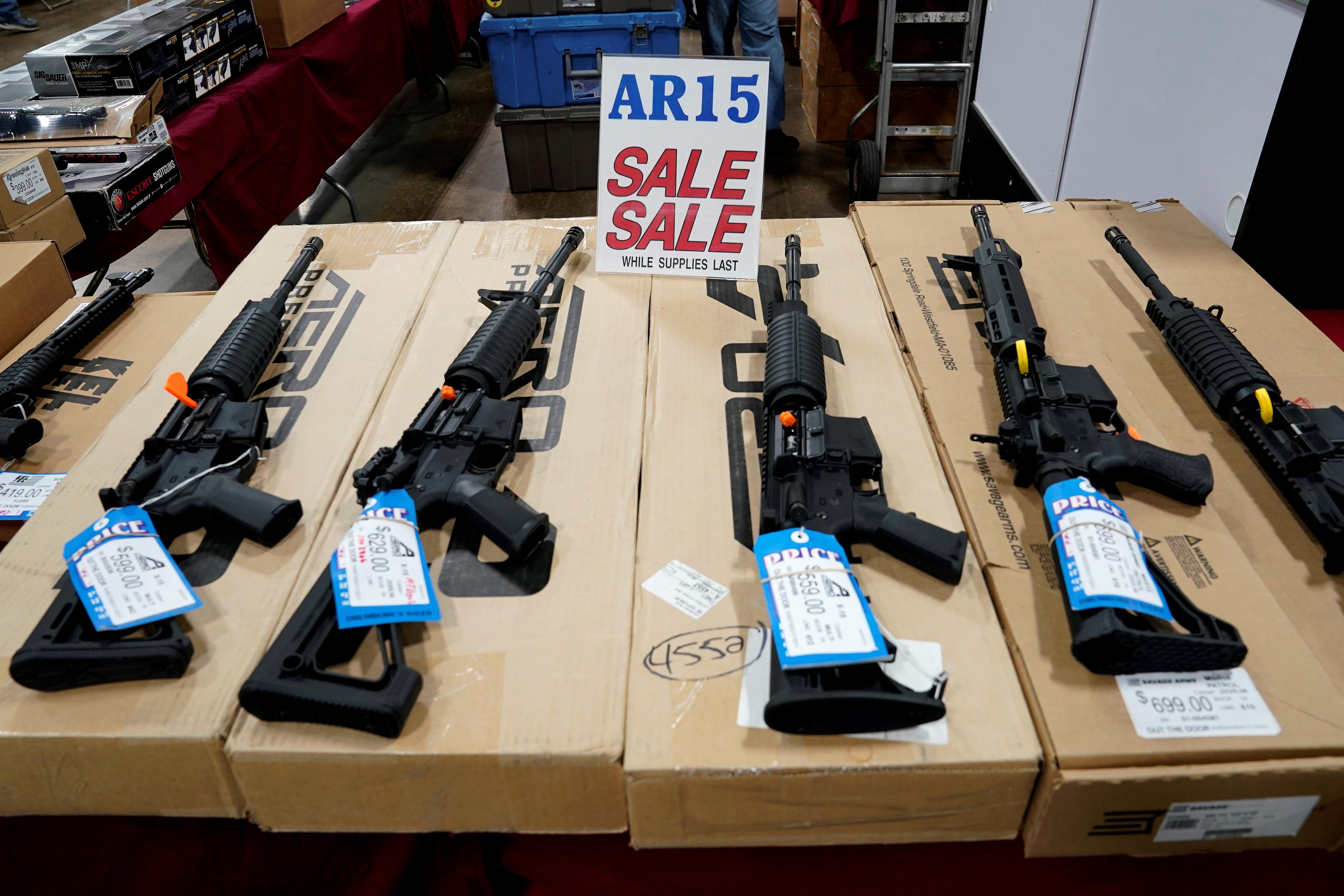 AR-15 rifles are displayed for sale at the Guntoberfest gun show in Oaks, Pennsylvania, U.S., October 6, 2017.   REUTERS/Joshua Roberts/File Photo
