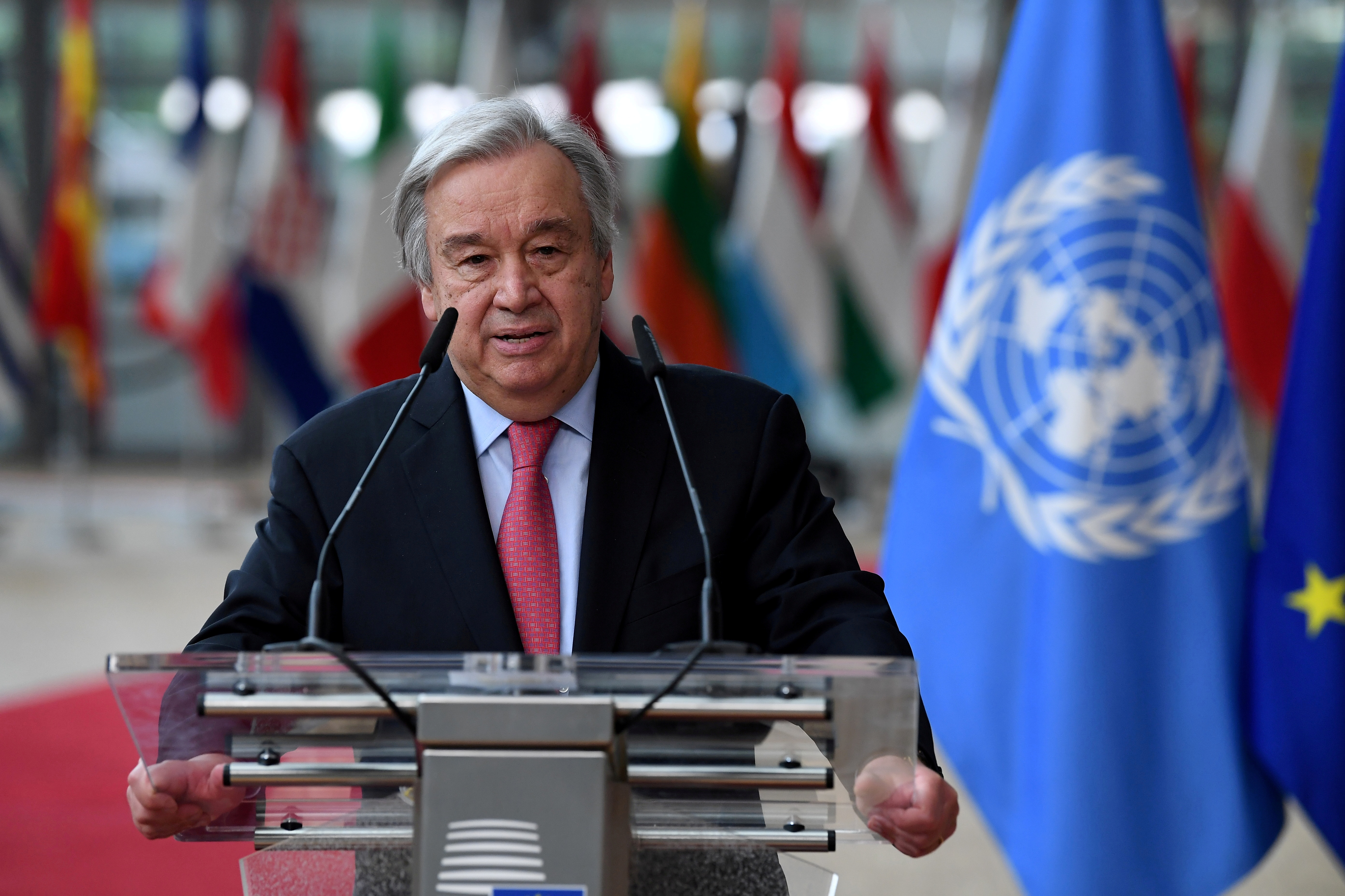 Secretary-General of the United Nations Antonio Guterres addresses the media as he arrives on the first day of the European Union summit at The European Council Building in Brussels, Belgium June 24, 2021. John Thys/Pool via REUTERS