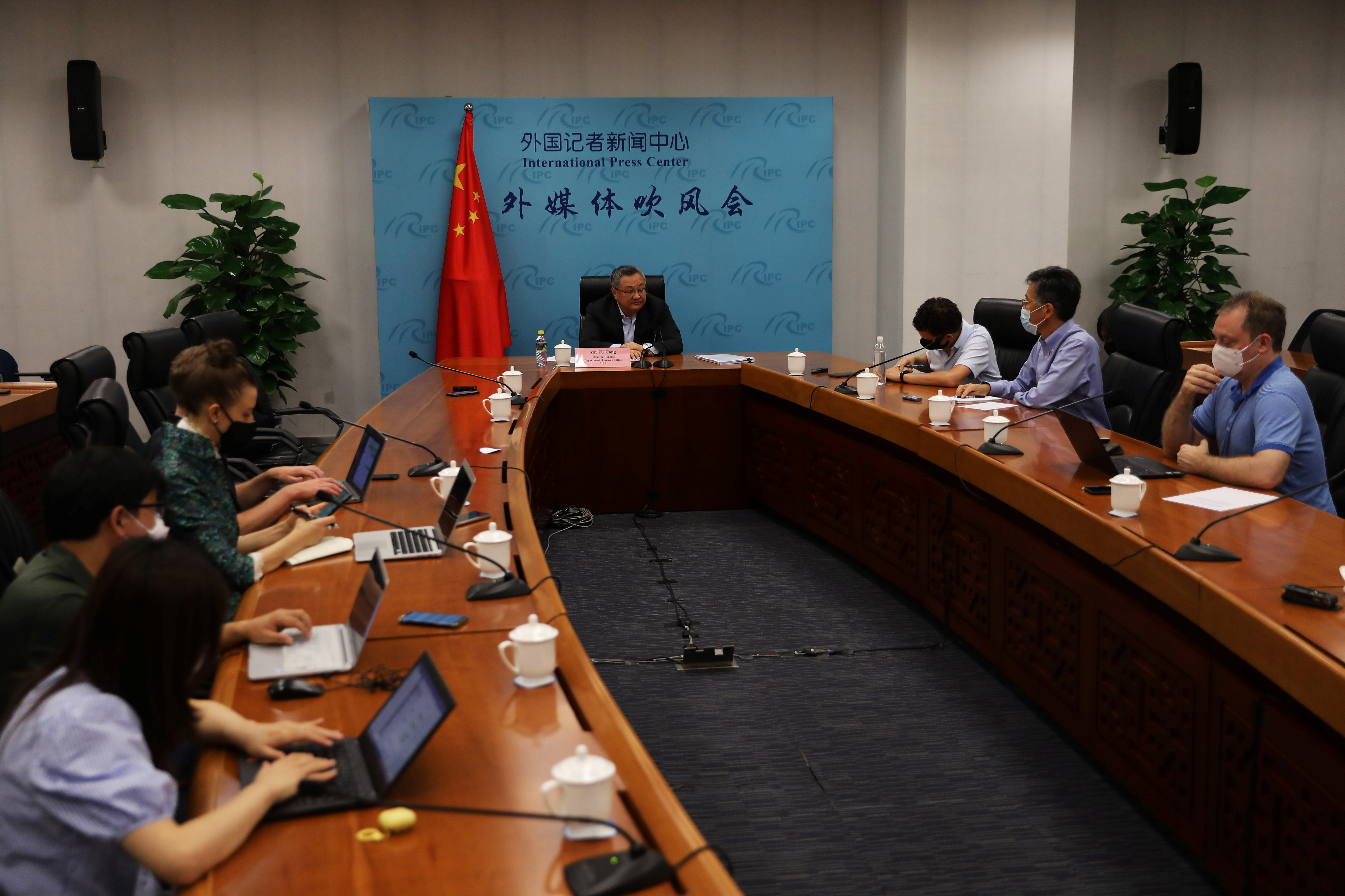 Fu Cong, the director-general of the arms control department of Chinese foreign ministry, speaks at a news conference on COVID-19 origin-tracking related issues, in Beijing, China August 25, 2021. REUTERS/Tingshu Wang
