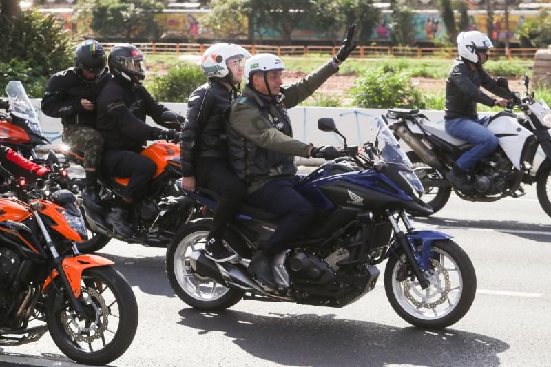 Brazil's President Jair Bolsonaro leads a motorcade rally amid the coronavirus disease (COVID-19) pandemic, in Sao Paulo, Brazil, June 12, 2021. REUTERS/Amanda Perobelli