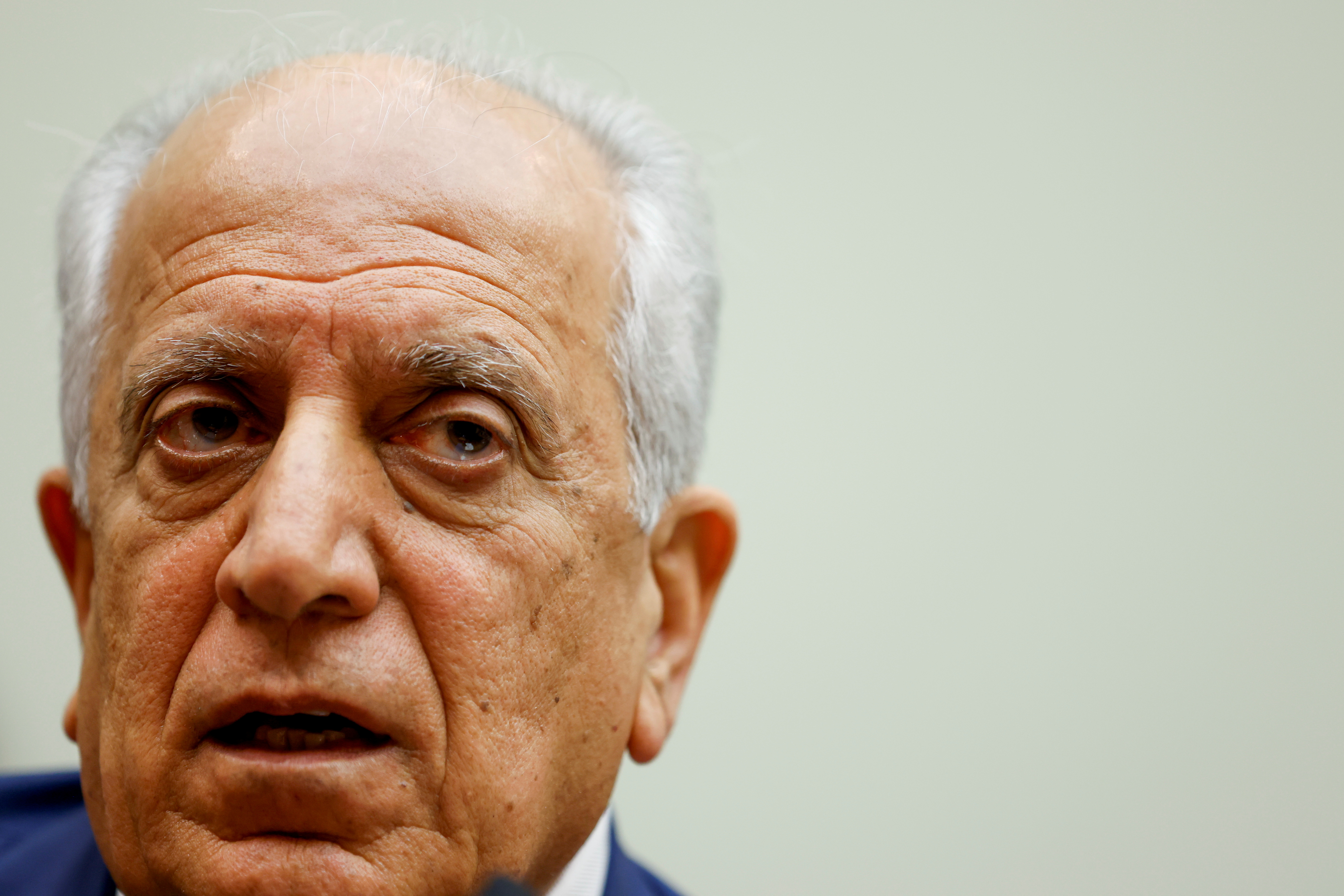 U.S. Special Representative for Afghanistan Reconciliation Zalmay Khalilzad testifies about the potential withdrawal of U.S. military forces from Afghanistan at a hearing before the House Foreign Affairs Committee on Capitol Hill in Washington, U.S. May 18, 2021.  REUTERS/Jonathan Ernst