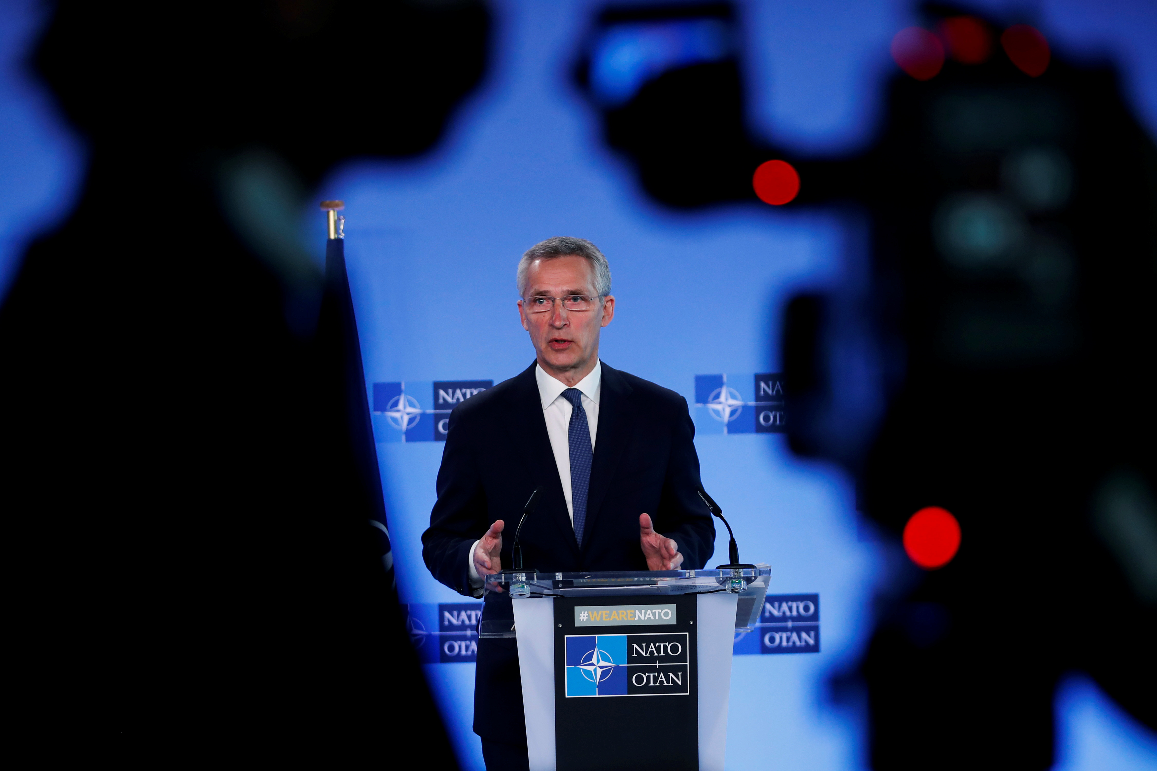 NATO Secretary General Jens Stoltenberg speaks during a media conference at NATO headquarters in Brussels, Belgium, April 13, 2021. Francisco Seco/Pool via REUTERS