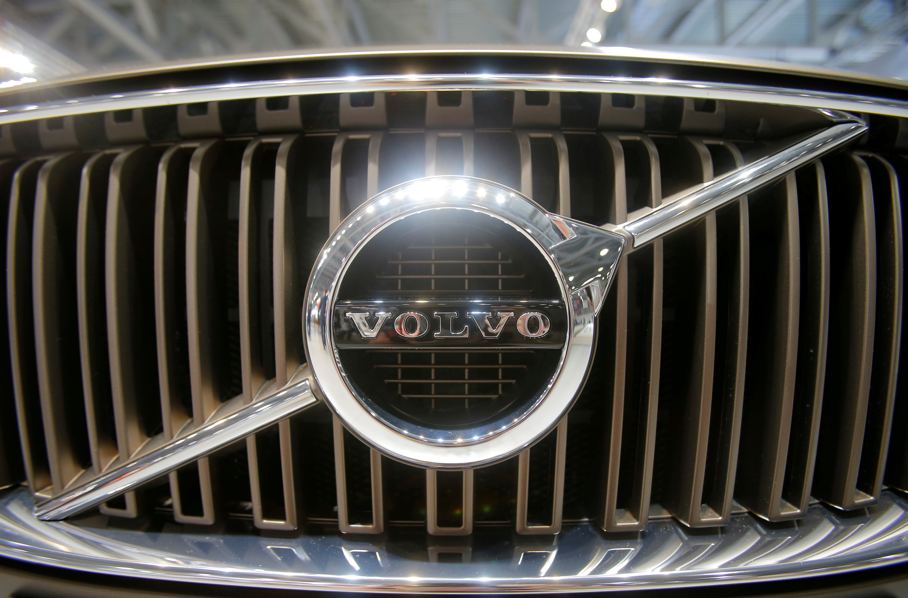 The logo of Volvo is seen on the front grill of a Volvo car at the 2016 Moscow International Auto Salon in Moscow, Russia, August 24, 2016. REUTERS/Maxim Shemetov