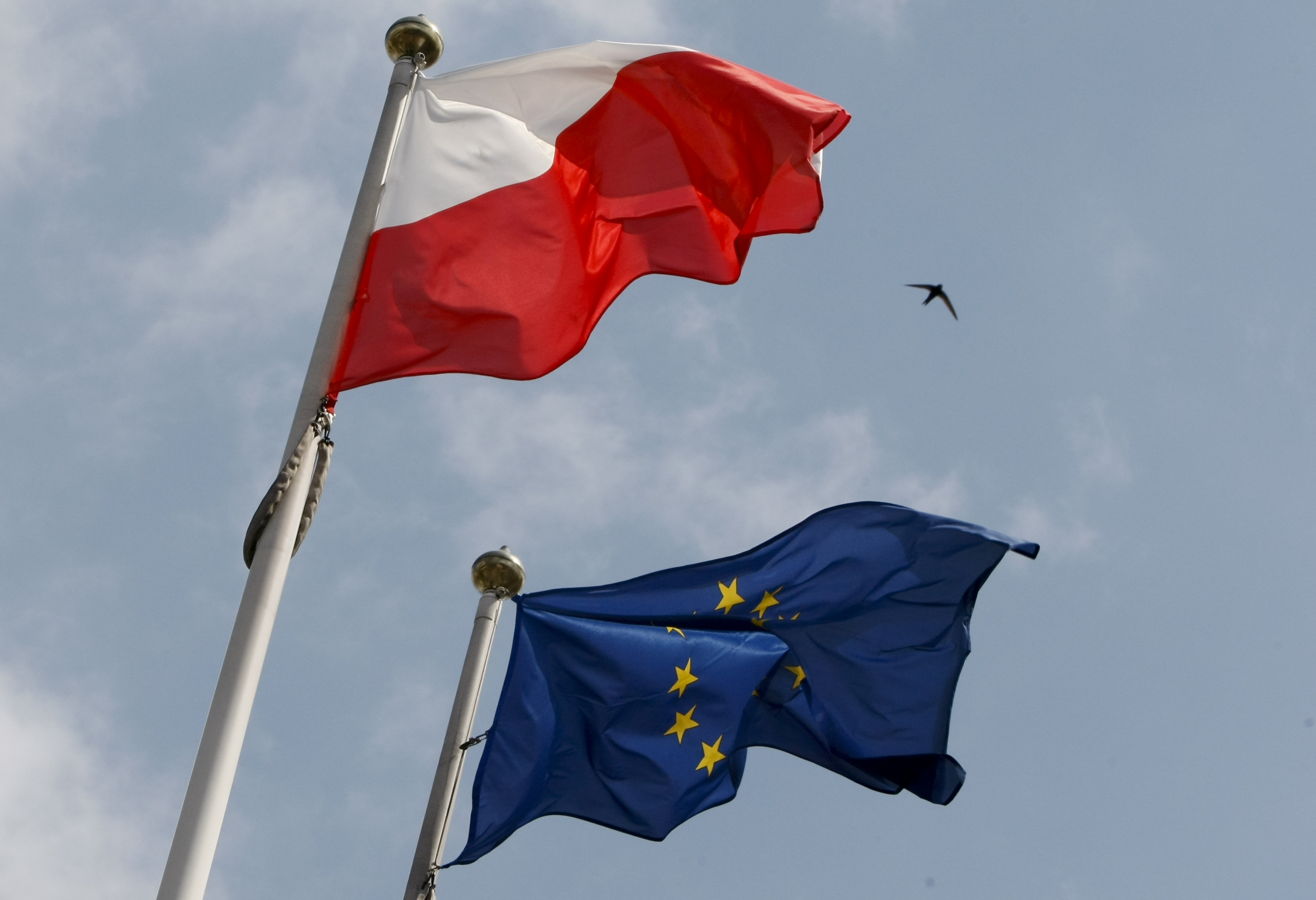 The flags of Poland and European Union flutter in front of the Polish parliament in Warsaw June 29, 2011. REUTERS/Kacper Pempel