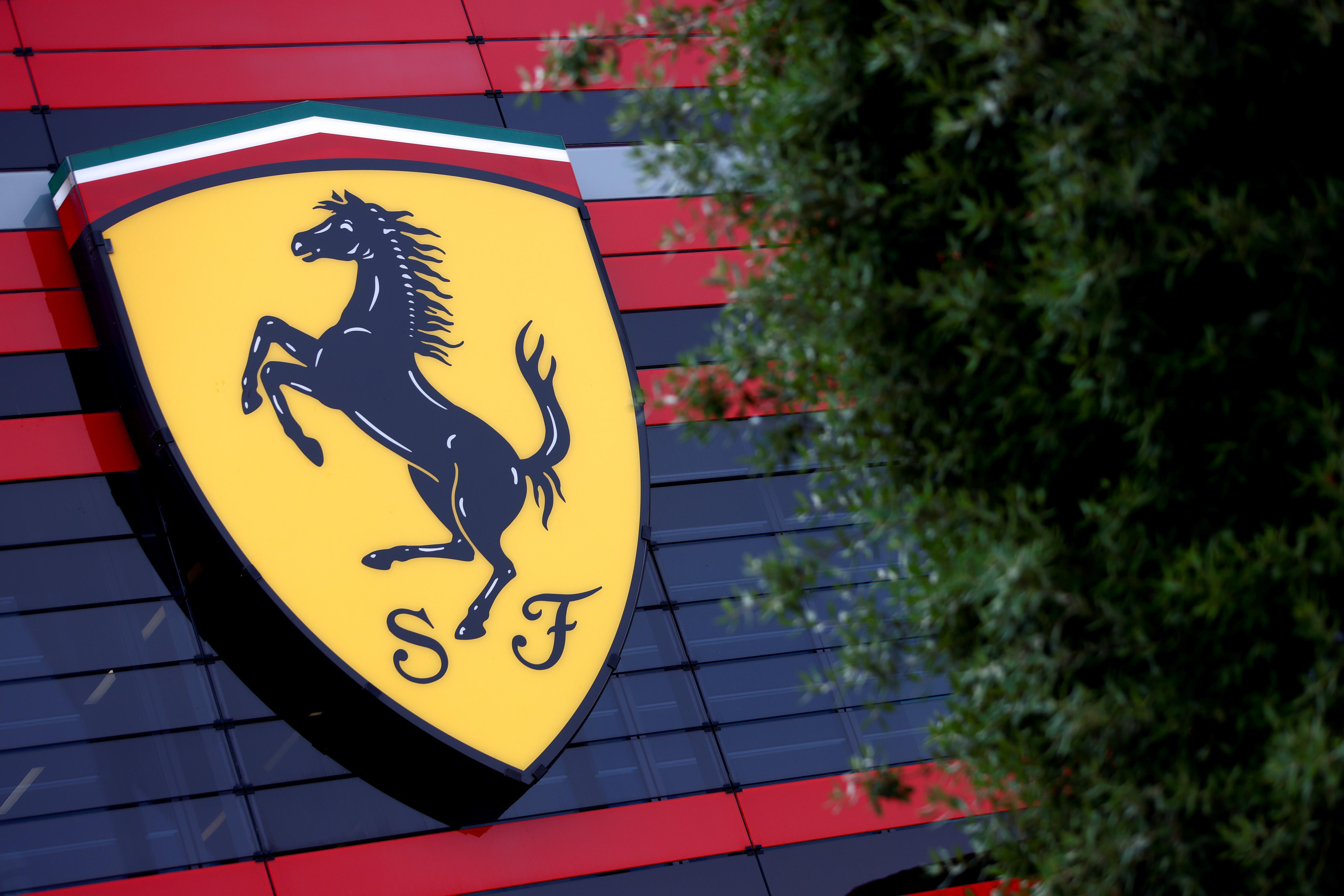 The Ferrari logo is seen at the company's headquarters in Maranello, Italy, June 8, 2021. Picture taken June 8, 2021. REUTERS/Guglielmo Mangiapane