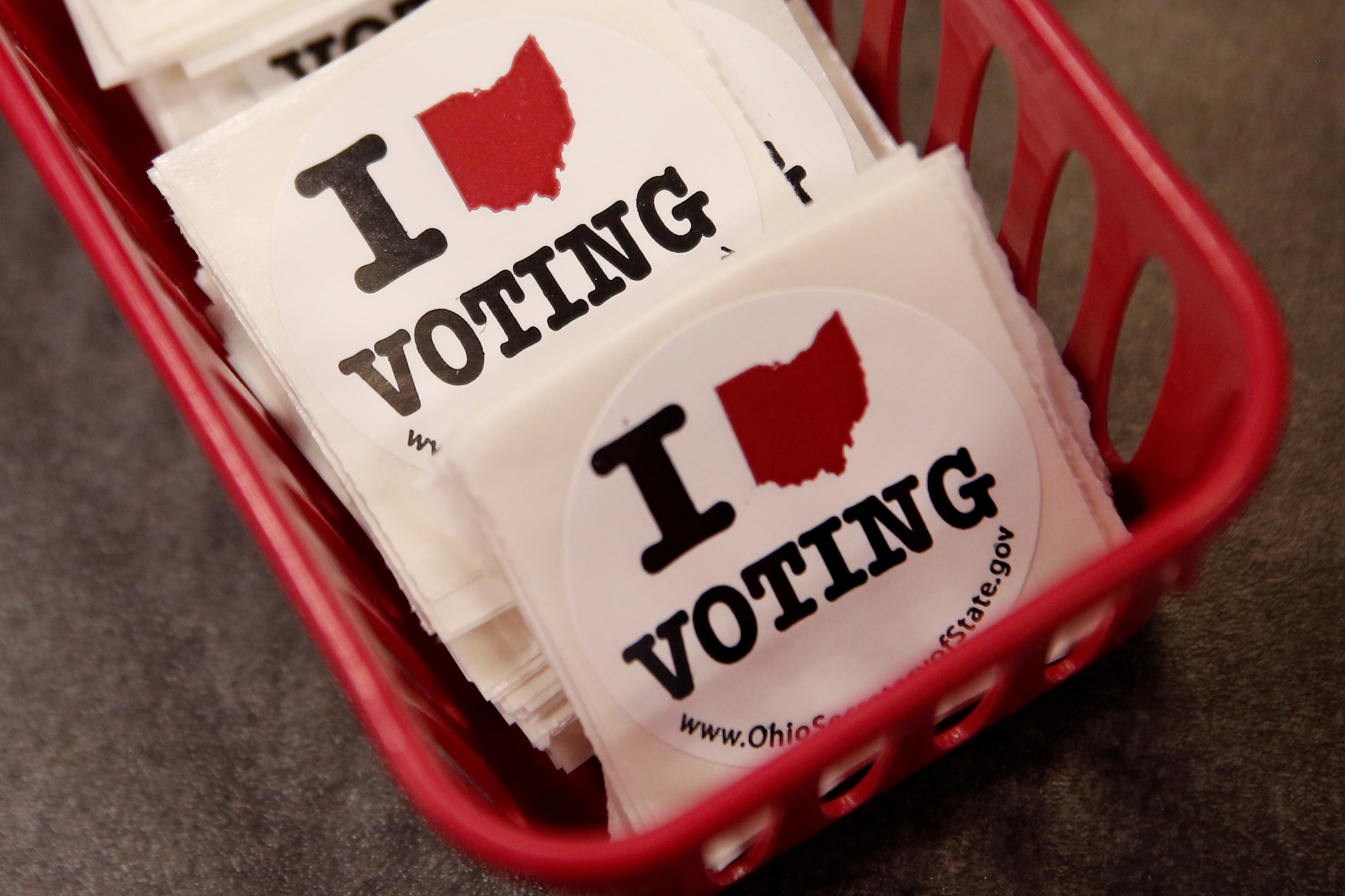 Voting stickers are seen at the Franklin County Board of Elections in Columbus, Ohio U.S., October 28, 2016. REUTERS/Shannon Stapleton/File Photo