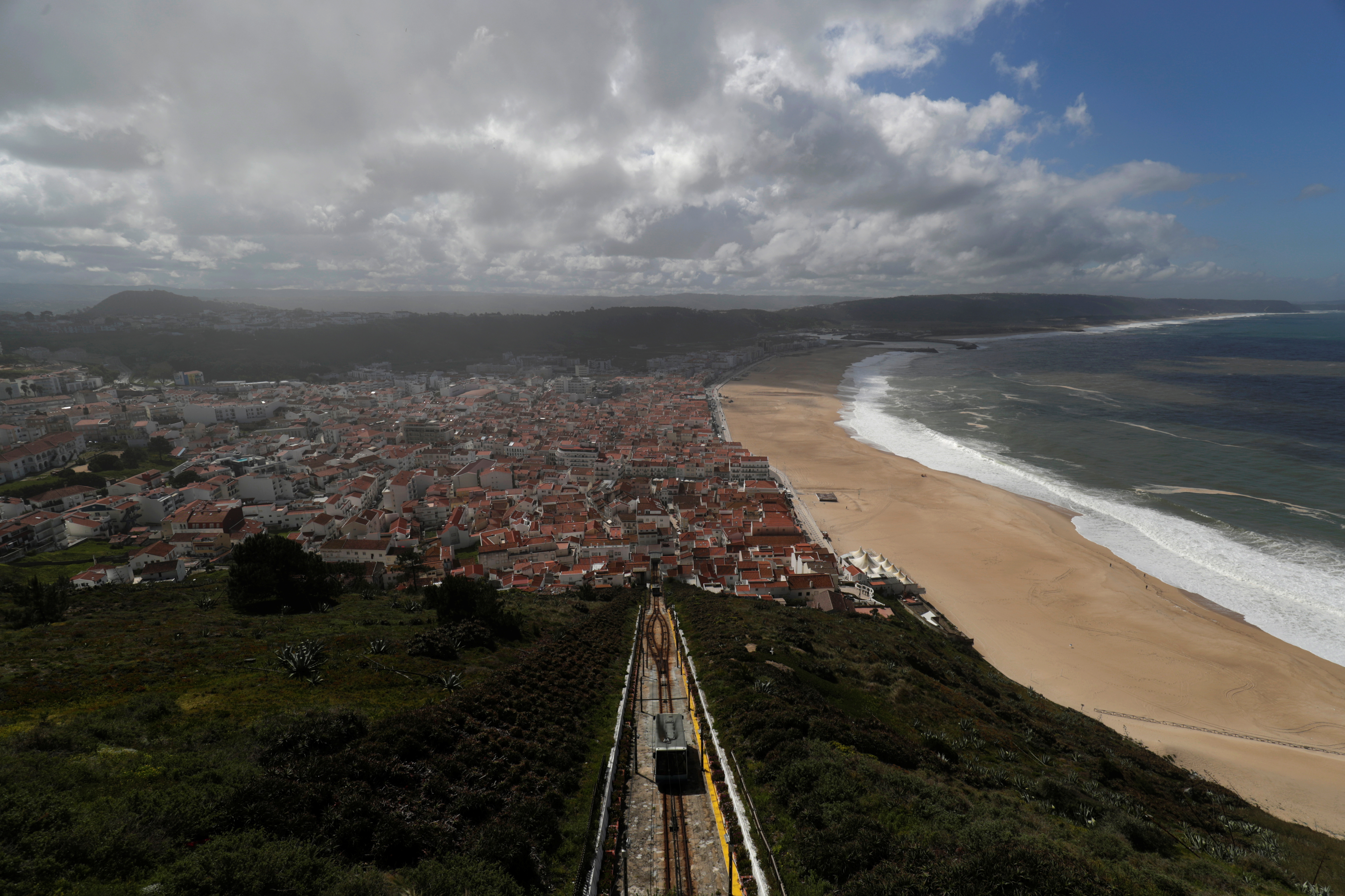 A general view of Nazare from a small village of Sitio, Portugal, April 13, 2018. REUTERS/Rafael Marchante