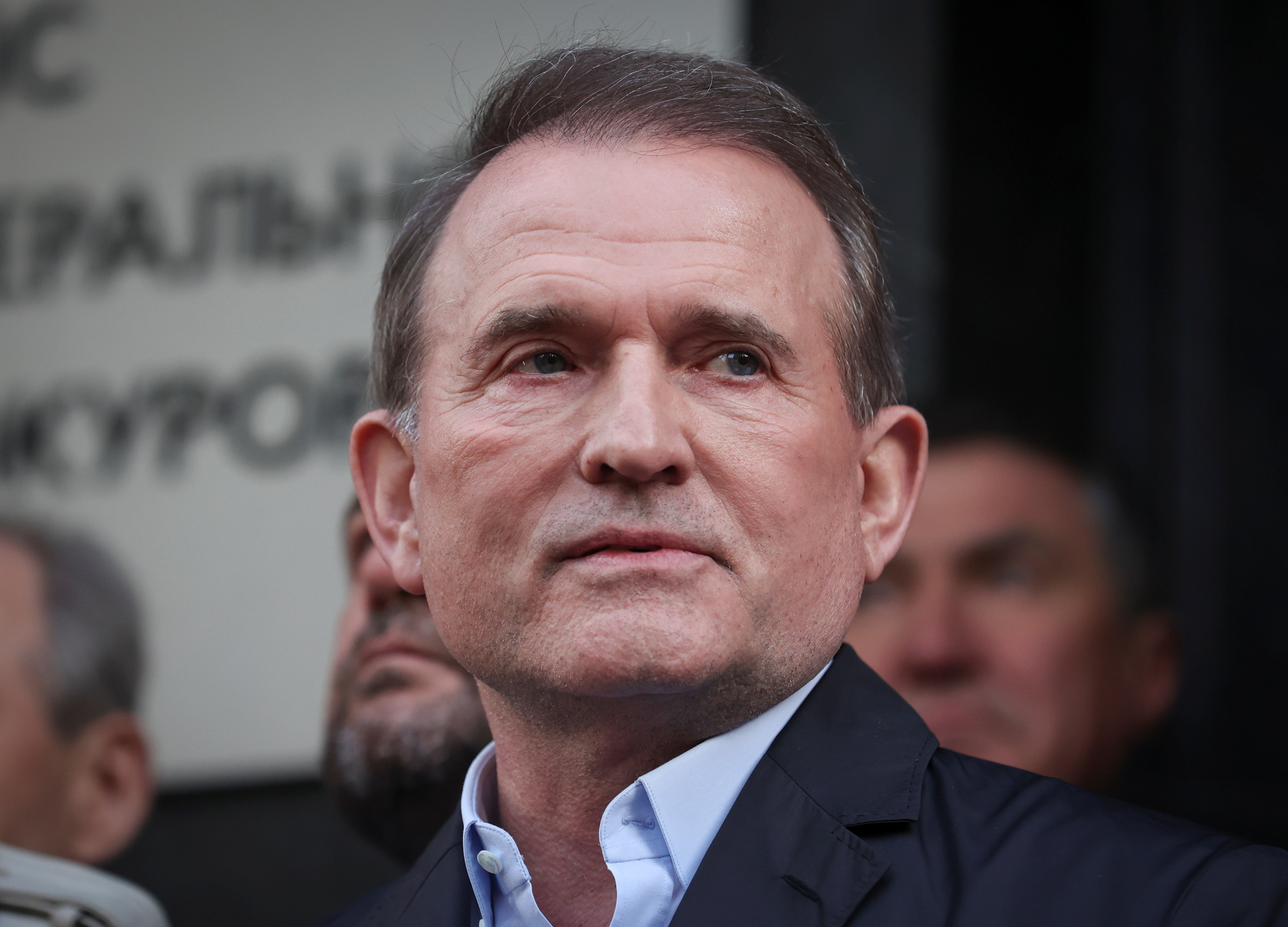 Viktor Medvedchuk, leader of Opposition Platform - For Life political party, speaks with journalists outside the office of the Prosecutor General in Kyiv, Ukraine May 12, 2021. REUTERS/Serhii Nuzhnenko