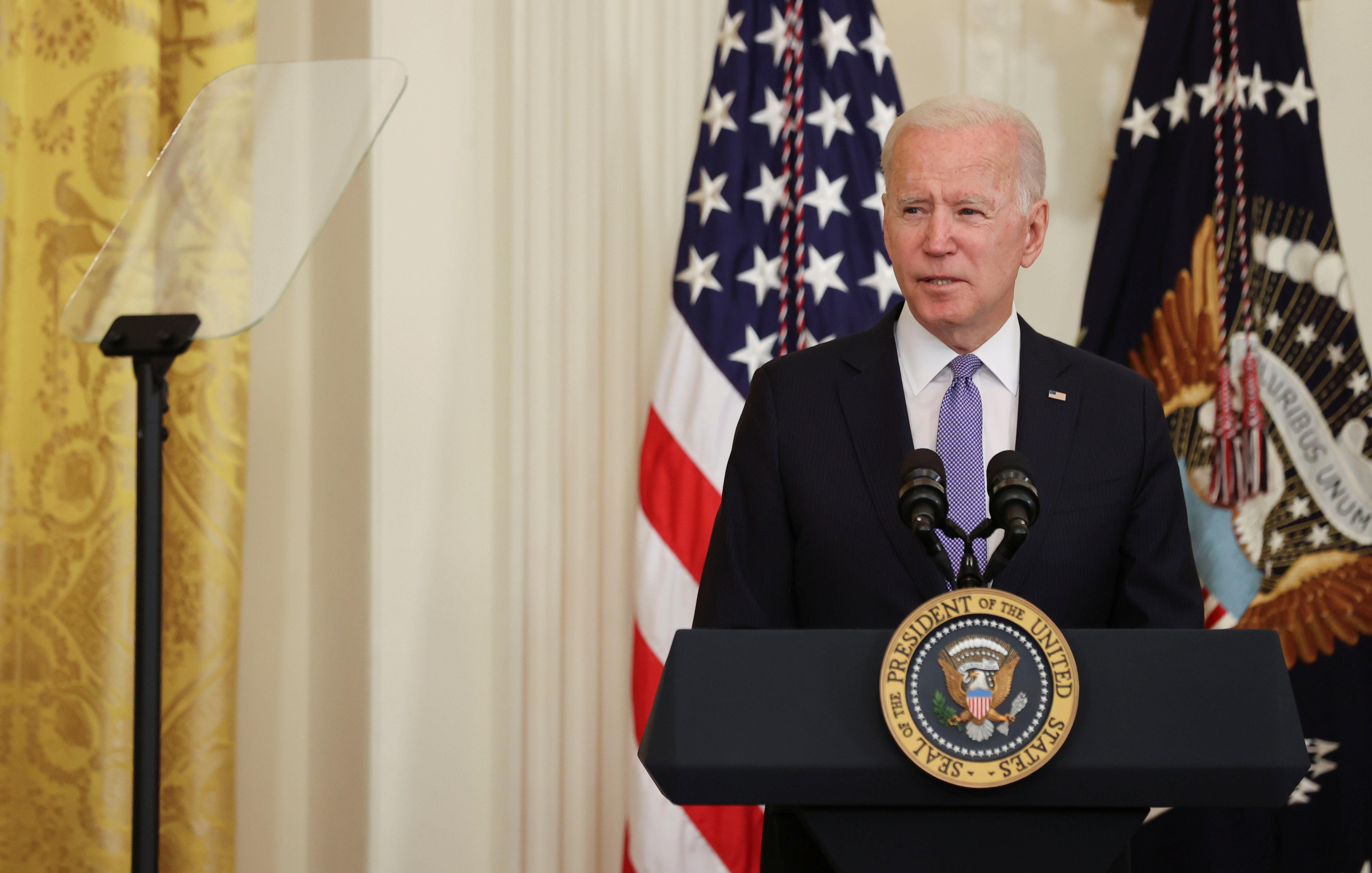 U.S. President Joe Biden delivers remarks before signing the
