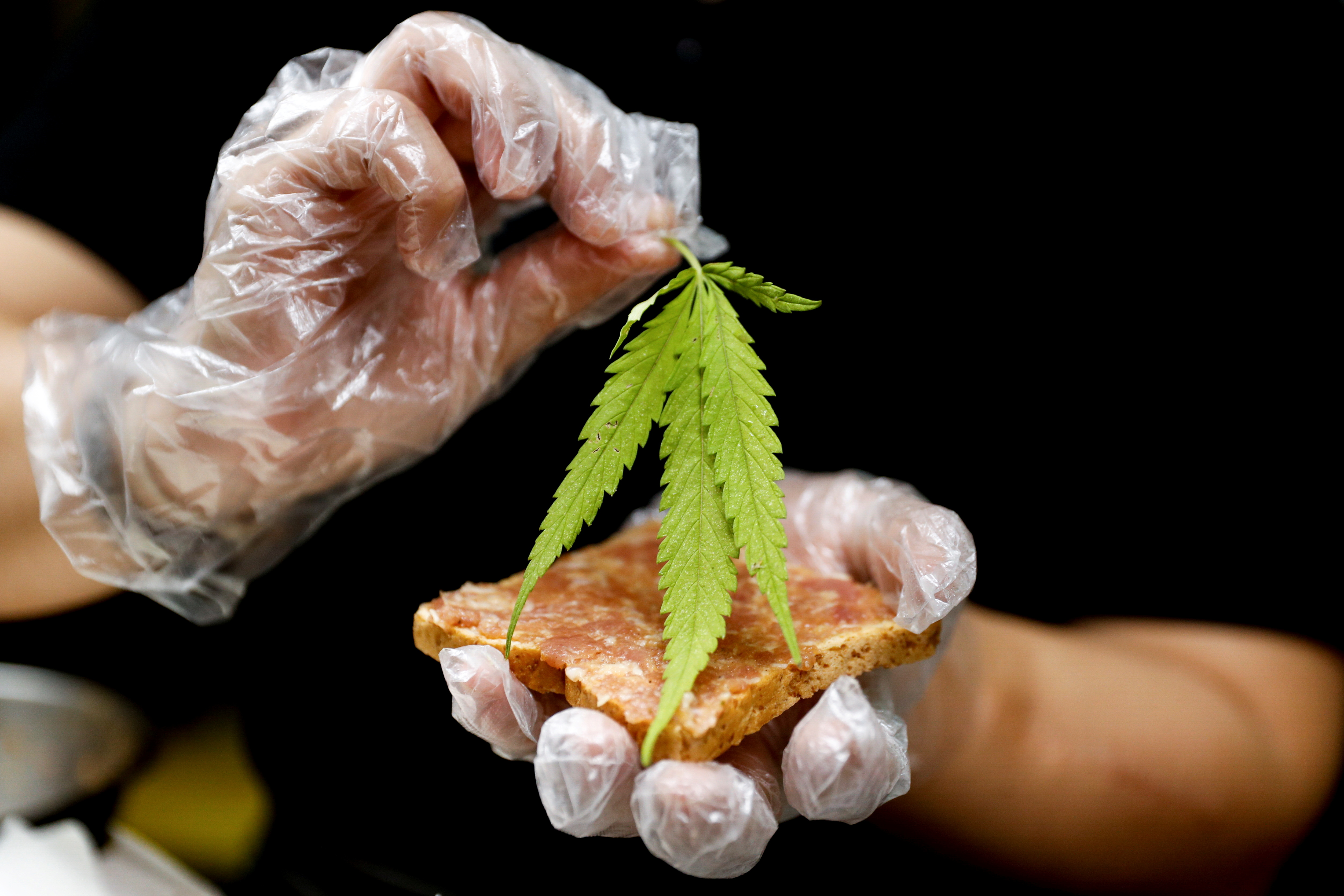 A chef prepares a pork sandwich with a marijuana leaf at Abhaibhubejhr hospital canteen which adds cannabis infused dishes to its menu after cannabis leaves, stems, stalks and roots were officially removed from Thailand's narcotics list, allowing basically any part of the plant except for the buds to be used for consumption in Prachin Buri province, outside Bangkok, Thailand January 15, 2021. REUTERS/Jorge Silva