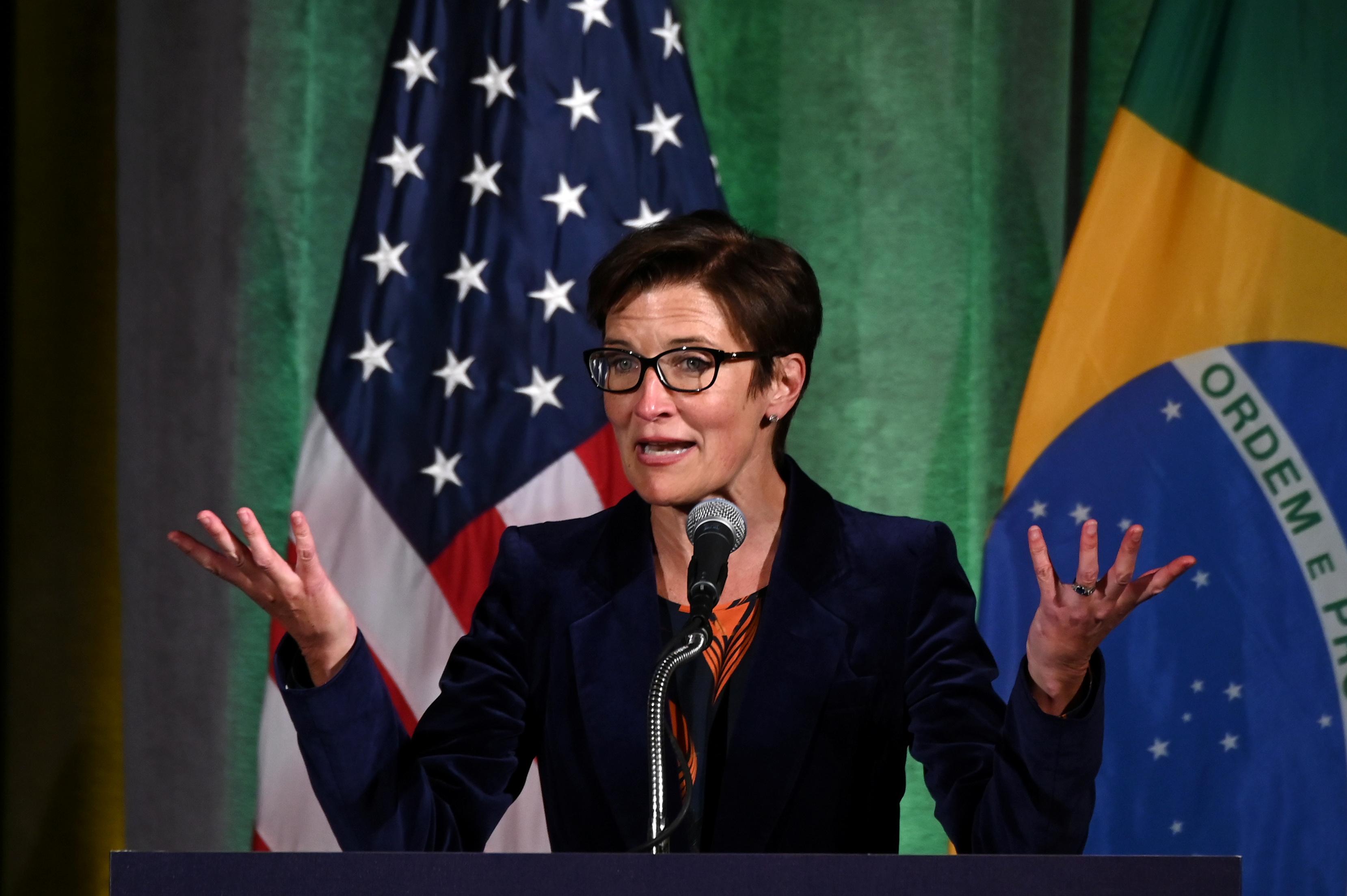 Citigroup Latin America CEO Jane Fraser addresses a Brazil-U.S. Business Council forum in Washington, U.S. March 18, 2019. REUTERS/Erin Scott