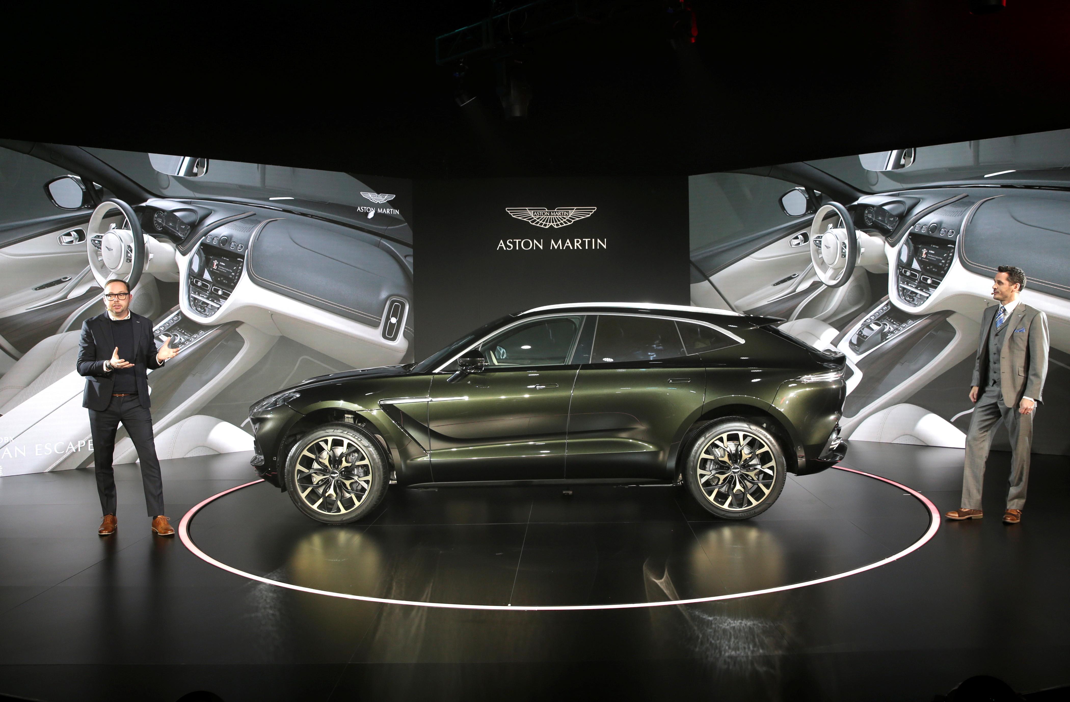 Aston Martin DBX, the company's first sport utility vehicle, is displayed at its global launch ceremony in Beijing, China November 20, 2019. REUTERS/Jason Lee