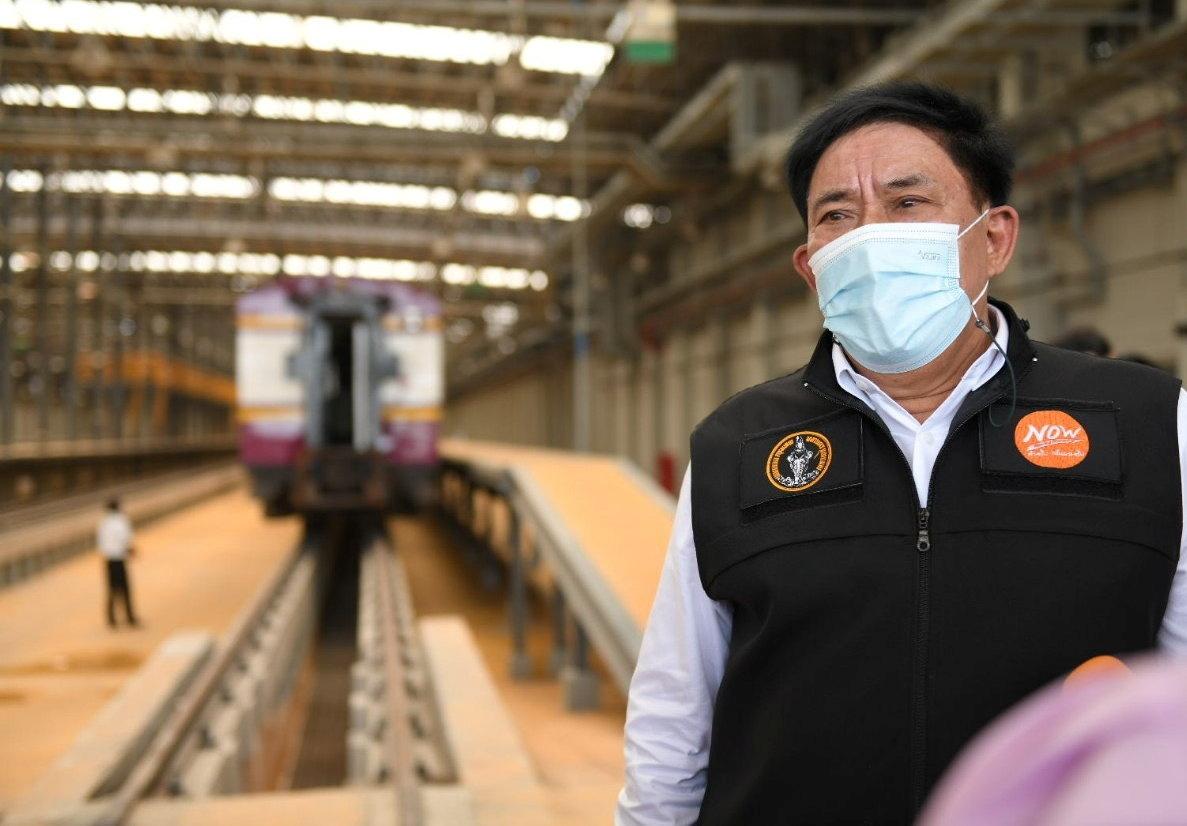 Bangkok governor Aswin Kwanmuang visits a train station as Thai government plan plan to convert 15 disused railway carriages into a 240-bed  coronavirus disease (COVID-19)  isolation ward for patients with less severe symptoms in Bangkok, Thailand July 27, 2021. BANGKOK METROPOLITAN ADMINISTRATION/Handout via REUTERS