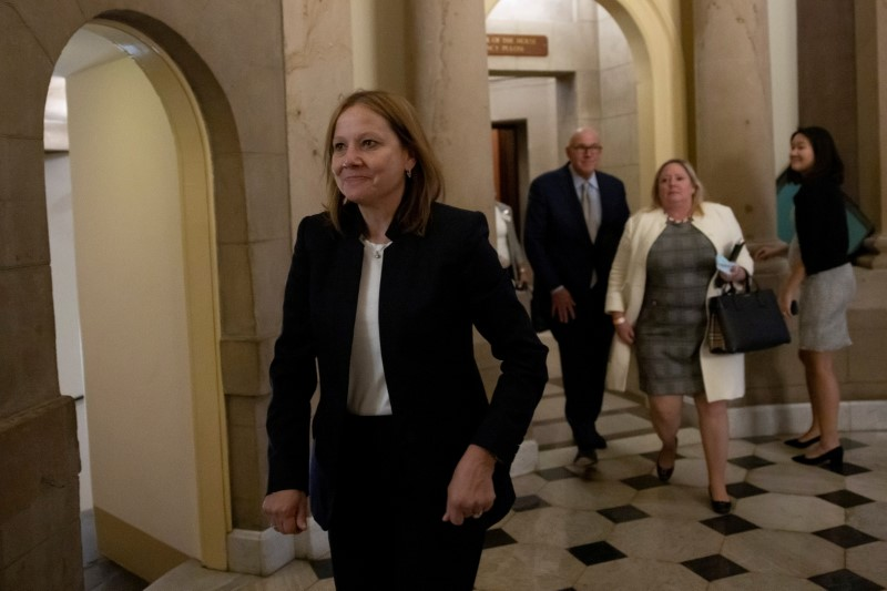 Mary Barra, CEO of General Motors, leaves after a meeting with Speaker of the House Nancy Pelosi (D-CA) at the U.S. Capitol in Washington, U.S. June 16, 2021. REUTERS/Carlos Barria