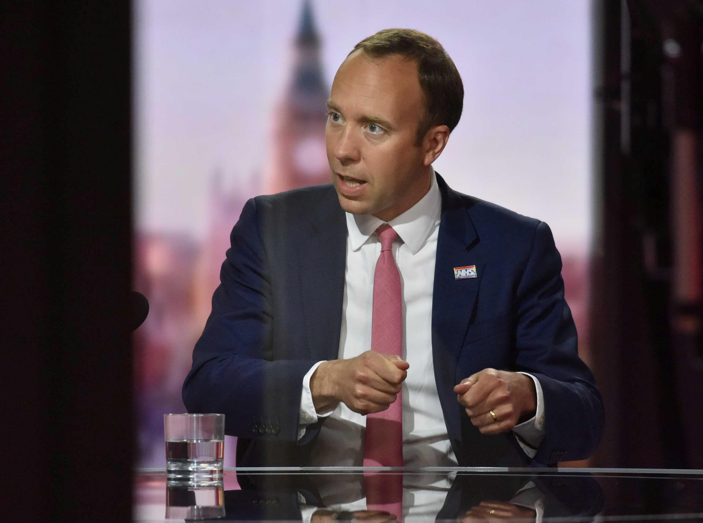 Britain's Health Secretary Matt Hancock appears on BBC TV's The Andrew Marr Show in London, Britain June 6, 2021. Jeff Overs/BBC/Handout via REUTERS