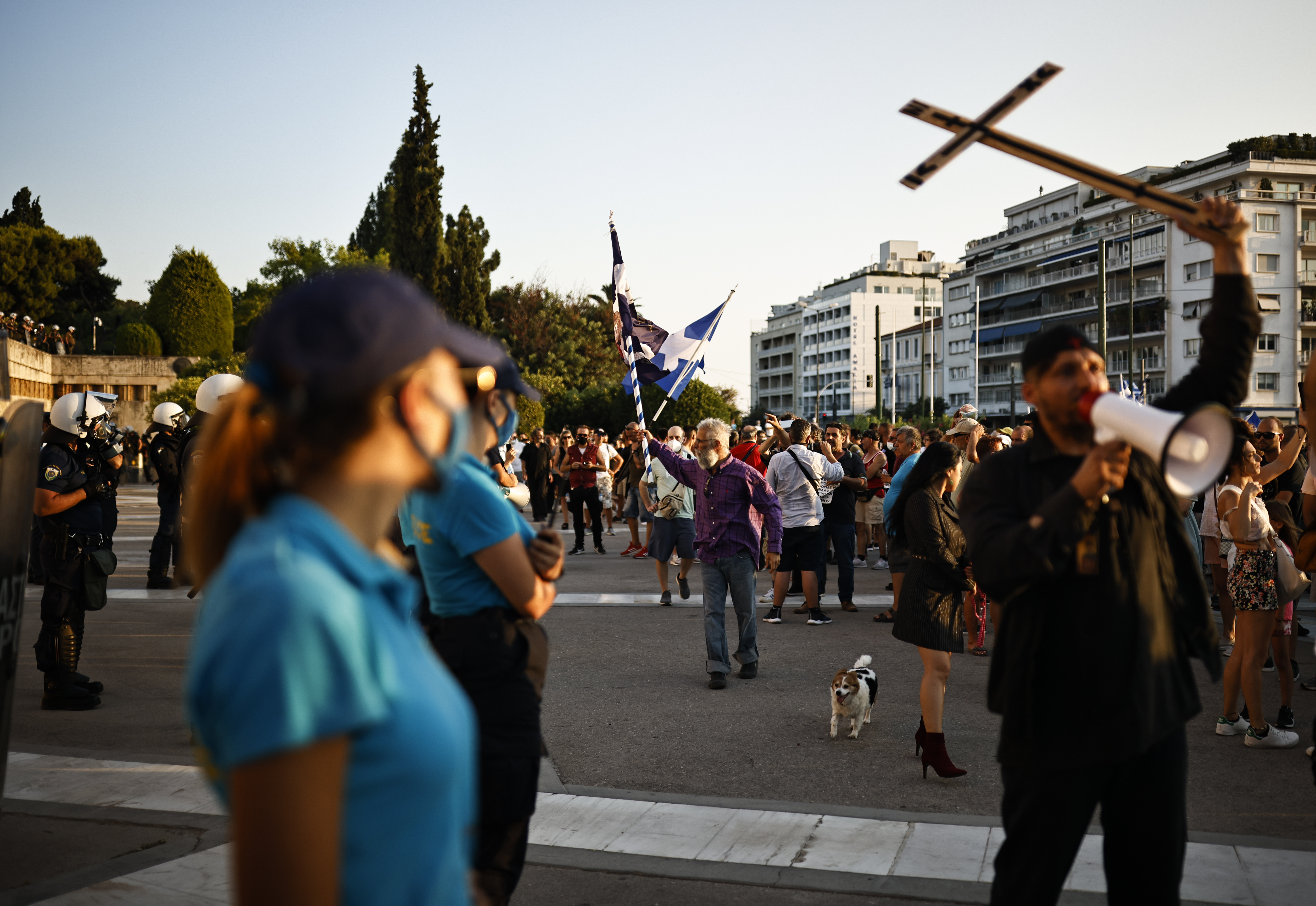 Anti-vaccine protesters take part in a demonstration outside the parliament building after the government announced mandatory vaccinations for certain sectors, in Athens, Greece, July 14, 2021. REUTERS/Alkis Konstantinidis