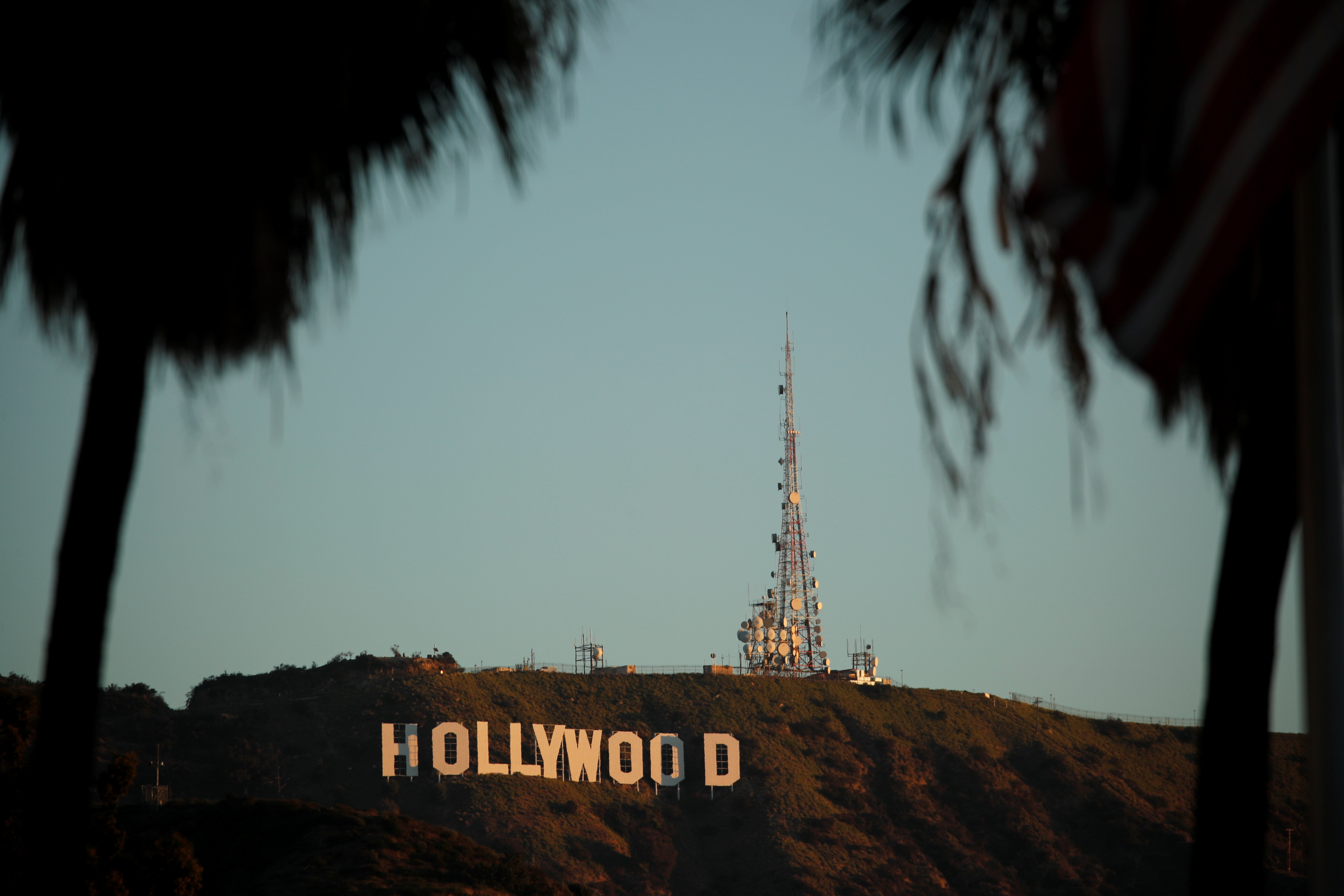 Morning sun rise on the Hollywood sign in Los Angeles, California. REUTERS/Mike Blake
