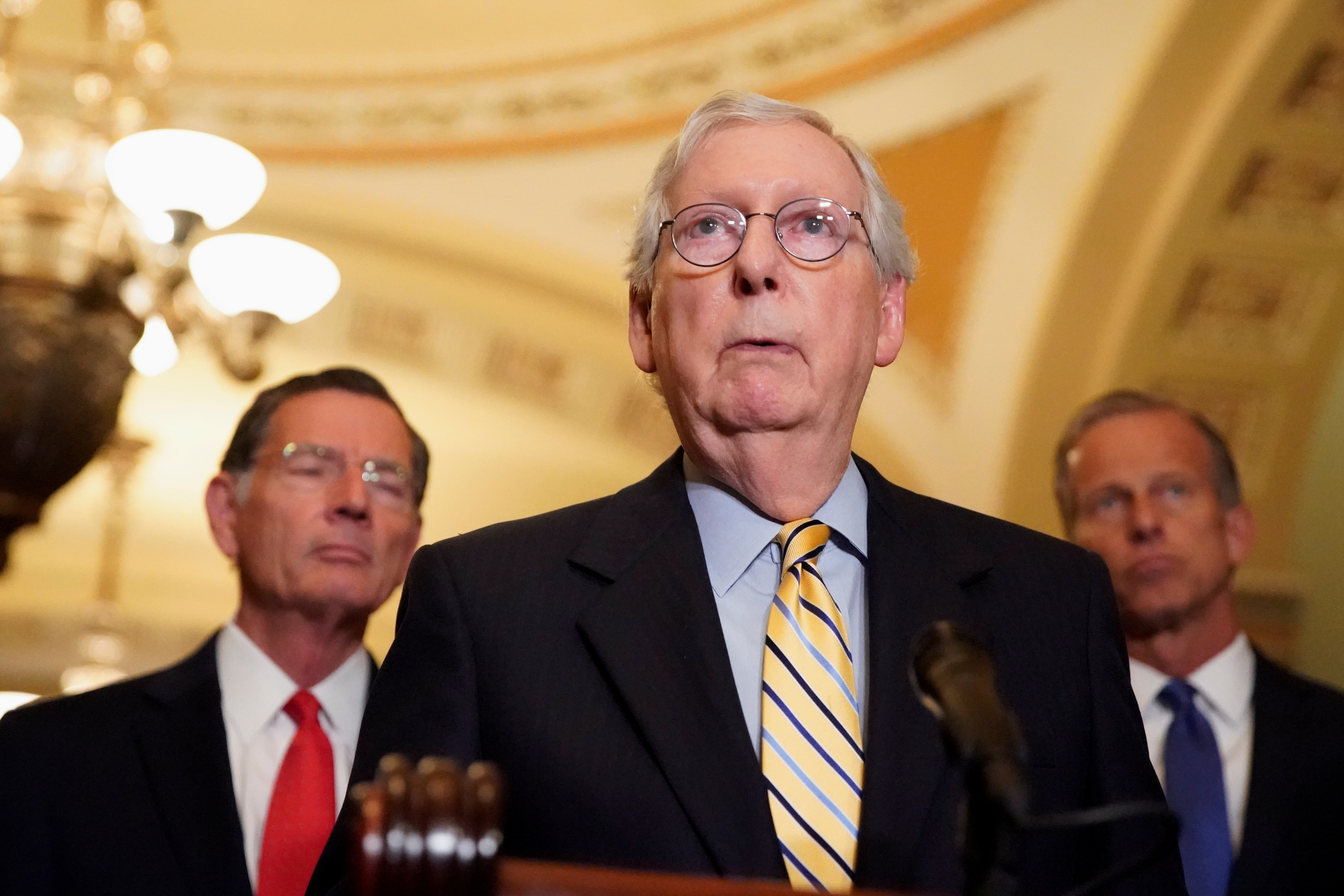U.S. Senate Minority Leader Mitch McConnell speaks to reporters following the weekly Senate lunch at the U.S. Capitol in Washington, D.C., U.S., September 21, 2021. REUTERS/Elizabeth Frantz