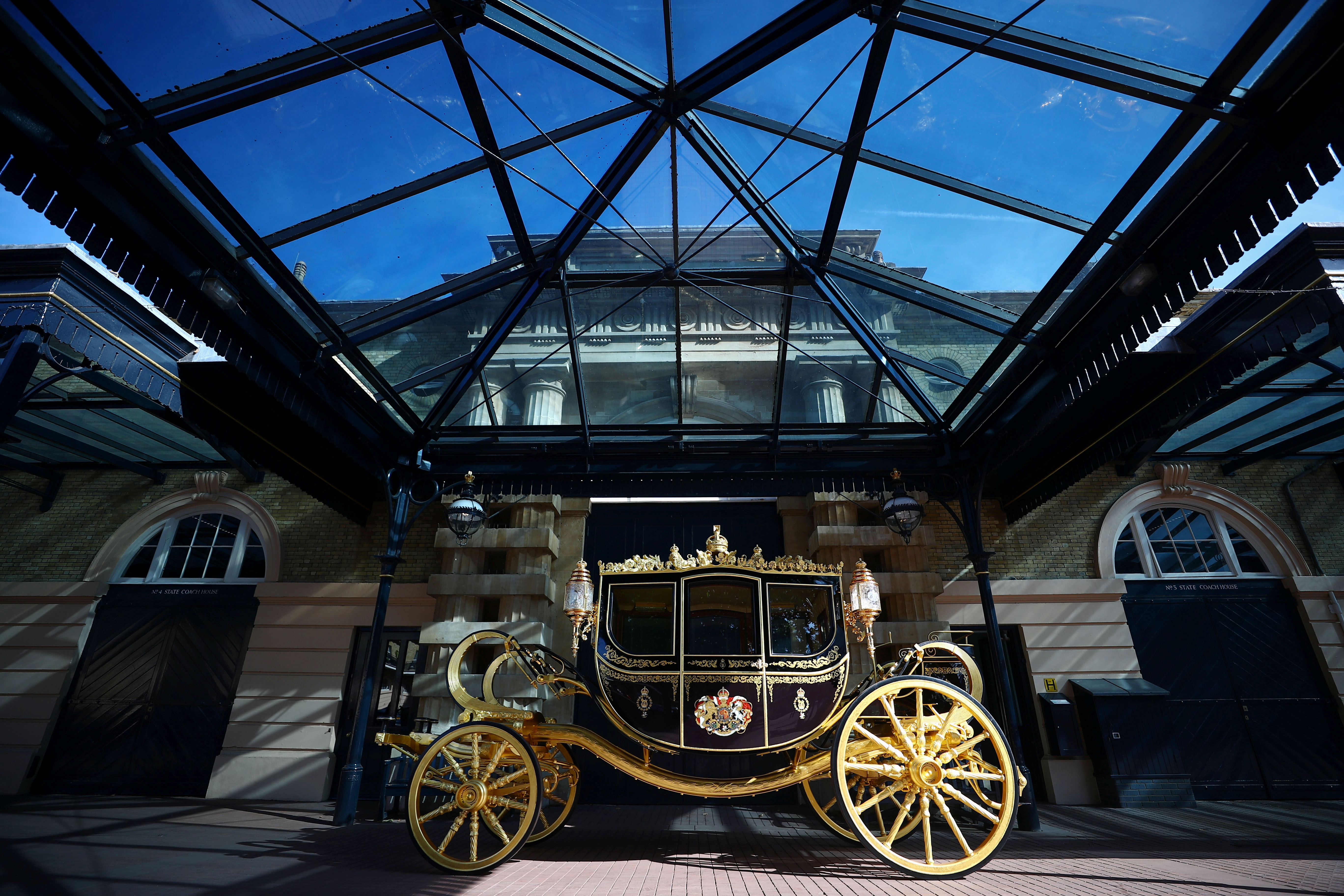 The Jubilee Carriage is seen in the courtyard of the Royal Mews at Buckingham Palace in London, Britain, September 21, 2021. REUTERS/Hannah McKay