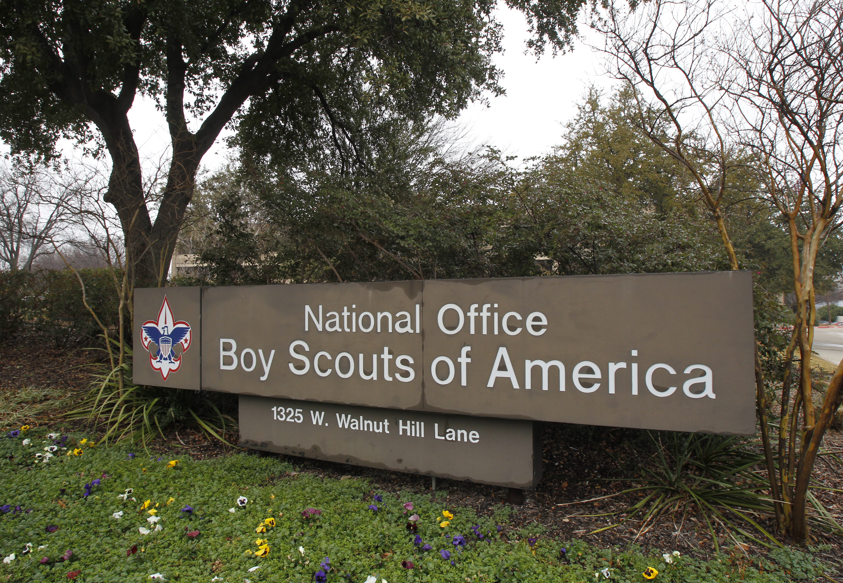 The Boy Scouts of America signage is pictured at its headquarters in Irving, Texas. REUTERS/Tim Sharp