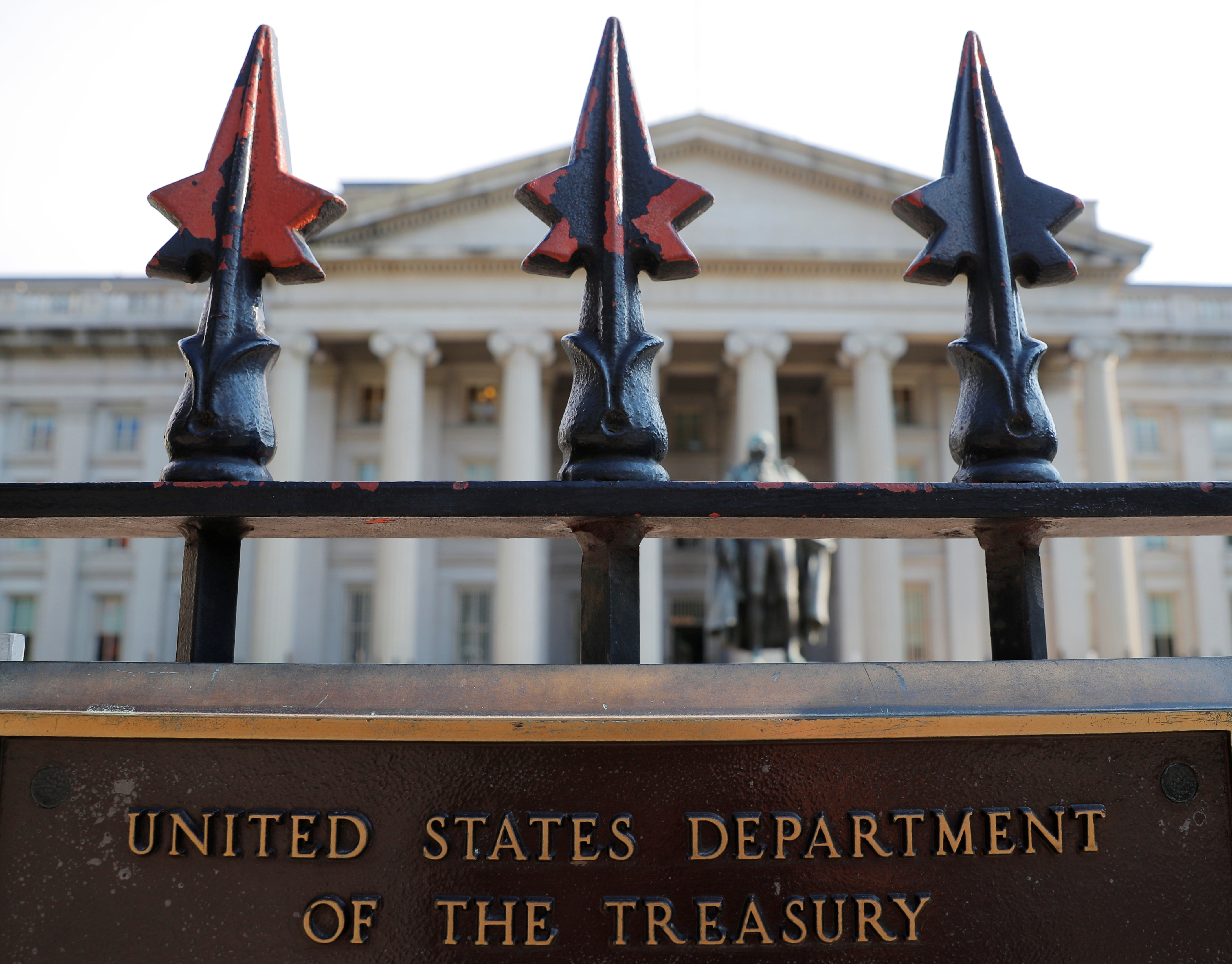 A sign marks the U.S Treasury Department in Washington, U.S., August 6, 2018.     REUTERS/Brian Snyder