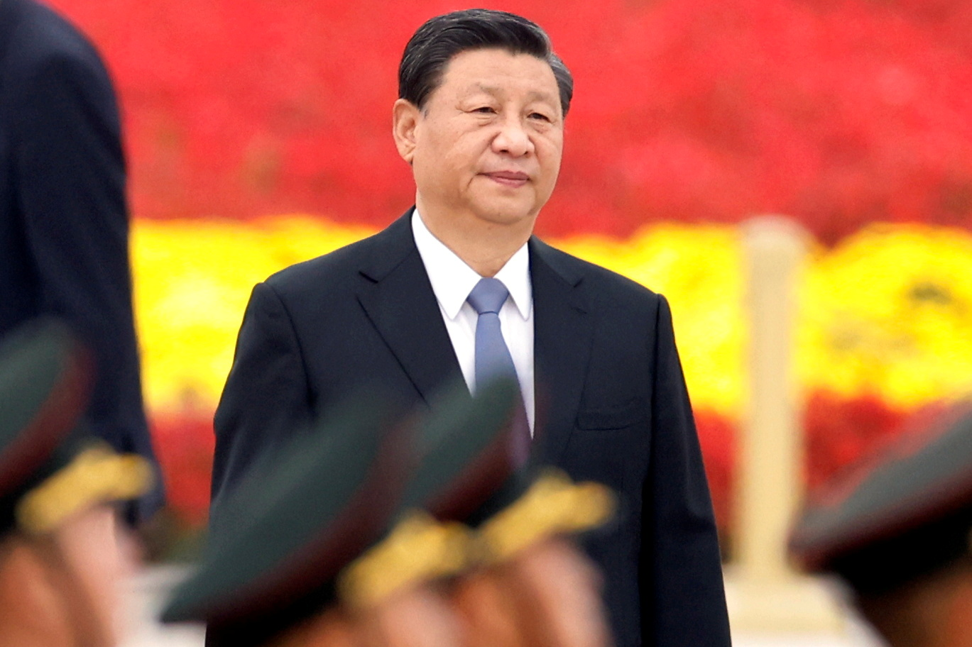 Chinese President Xi Jinping arrives for a ceremony at the Monument to the People's Heroes on Tiananmen Square to mark Martyrs' Day, in Beijing, China September 30, 2021. REUTERS/Carlos Garcia Rawlins/File Photo