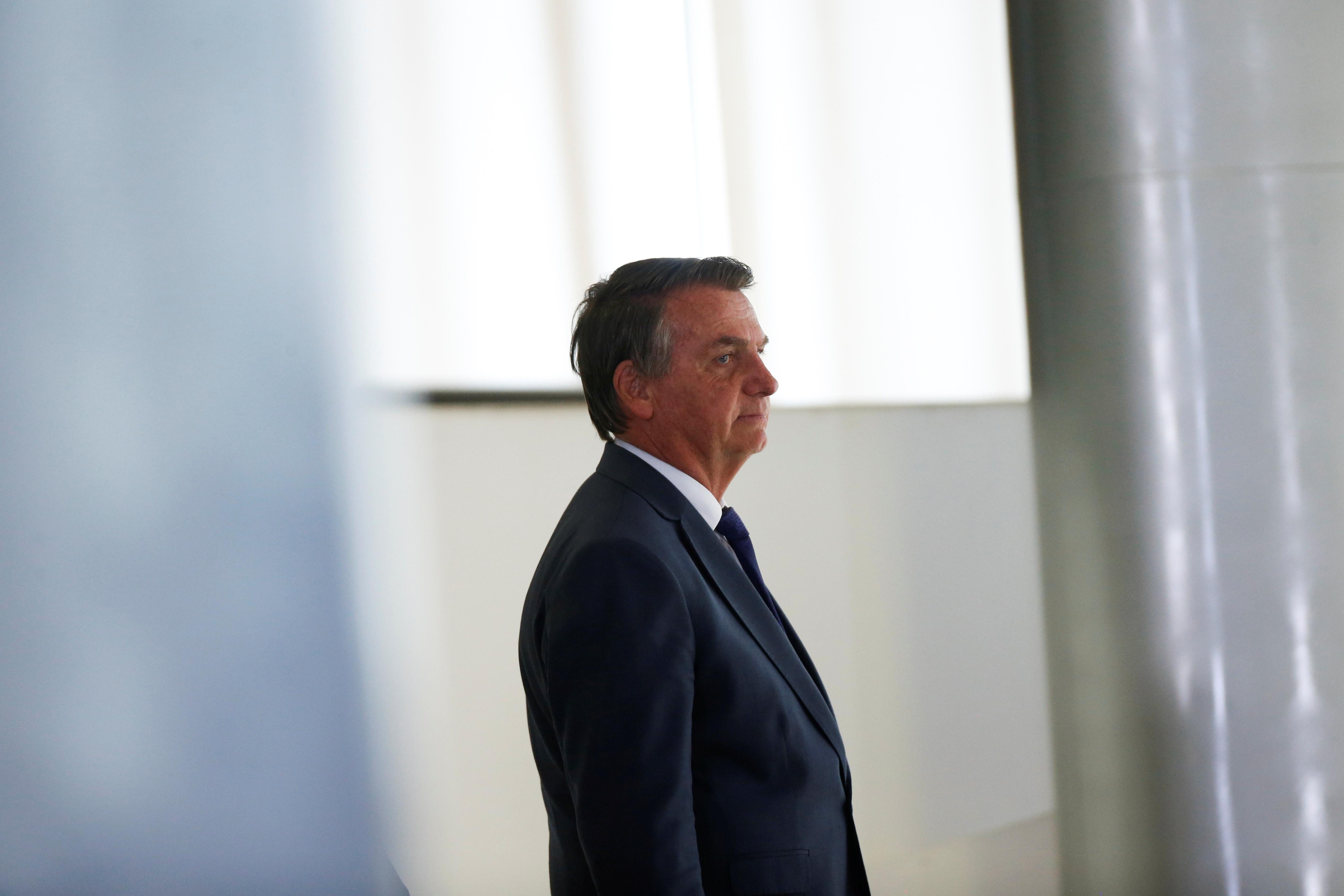 Brazil's President Jair Bolsonaro walks before a ceremony at the Planalto Palace in Brasilia, Brazil September 2, 2021. REUTERS/Adriano Machado