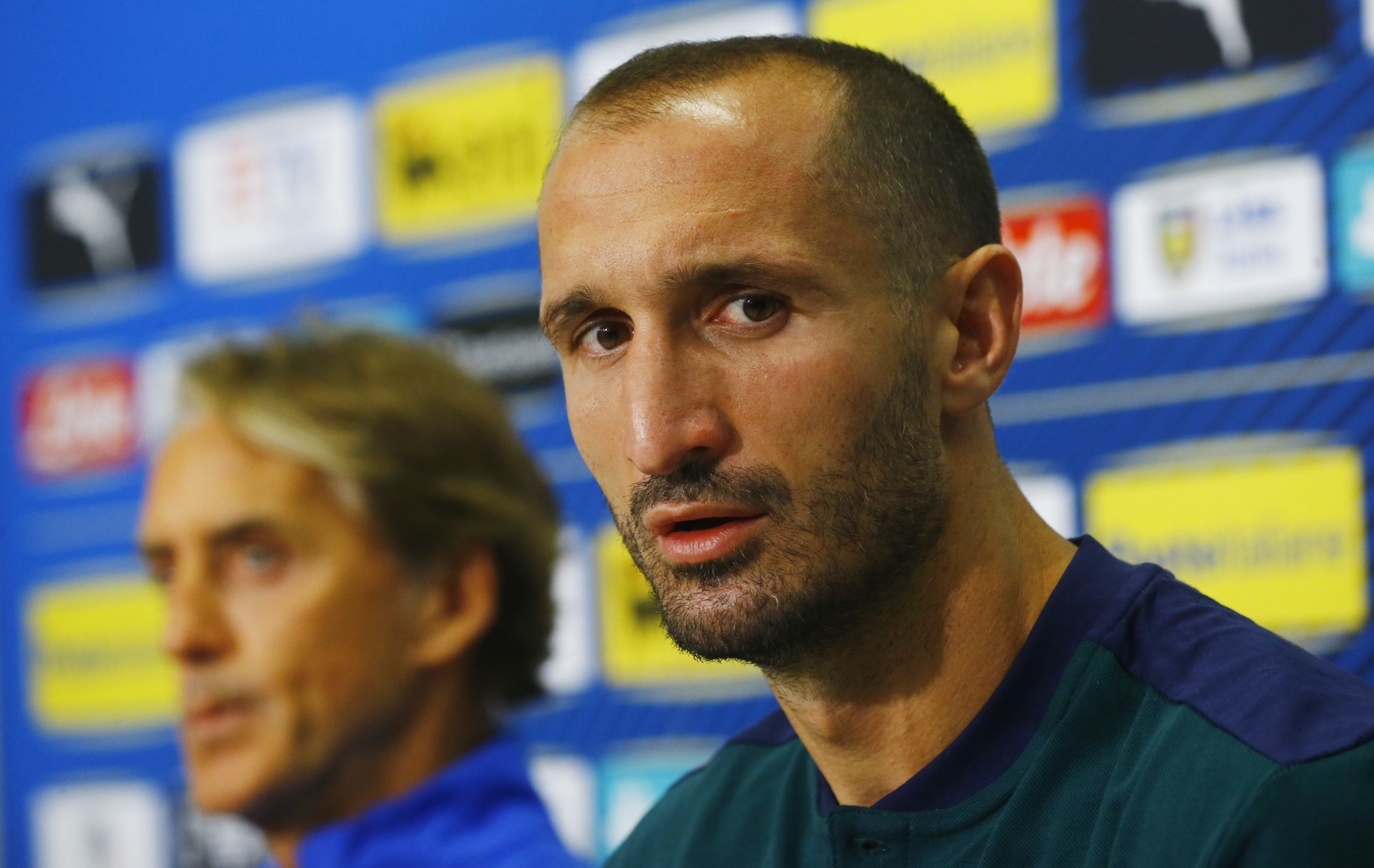 Soccer Football - World Cup - UEFA Qualifiers - Italy Press Conference - St. Jakob-Park, Basel, Switzerland - September 4, 2021  Italy's Giorgio Chiellini during the press conference REUTERS/Arnd Wiegmann