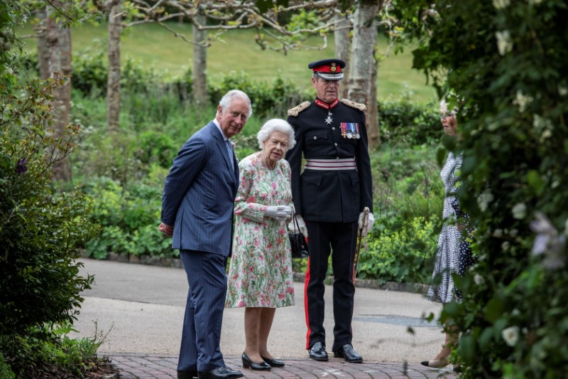 Britain's Queen Elizabeth, Prince Charles with Camilla, Duchess of Cornwall attend a drinks reception on the sidelines of the G7 summit, at the Eden Project in Cornwall, Britain June 11, 2021. Jack Hill/Pool via REUTERS