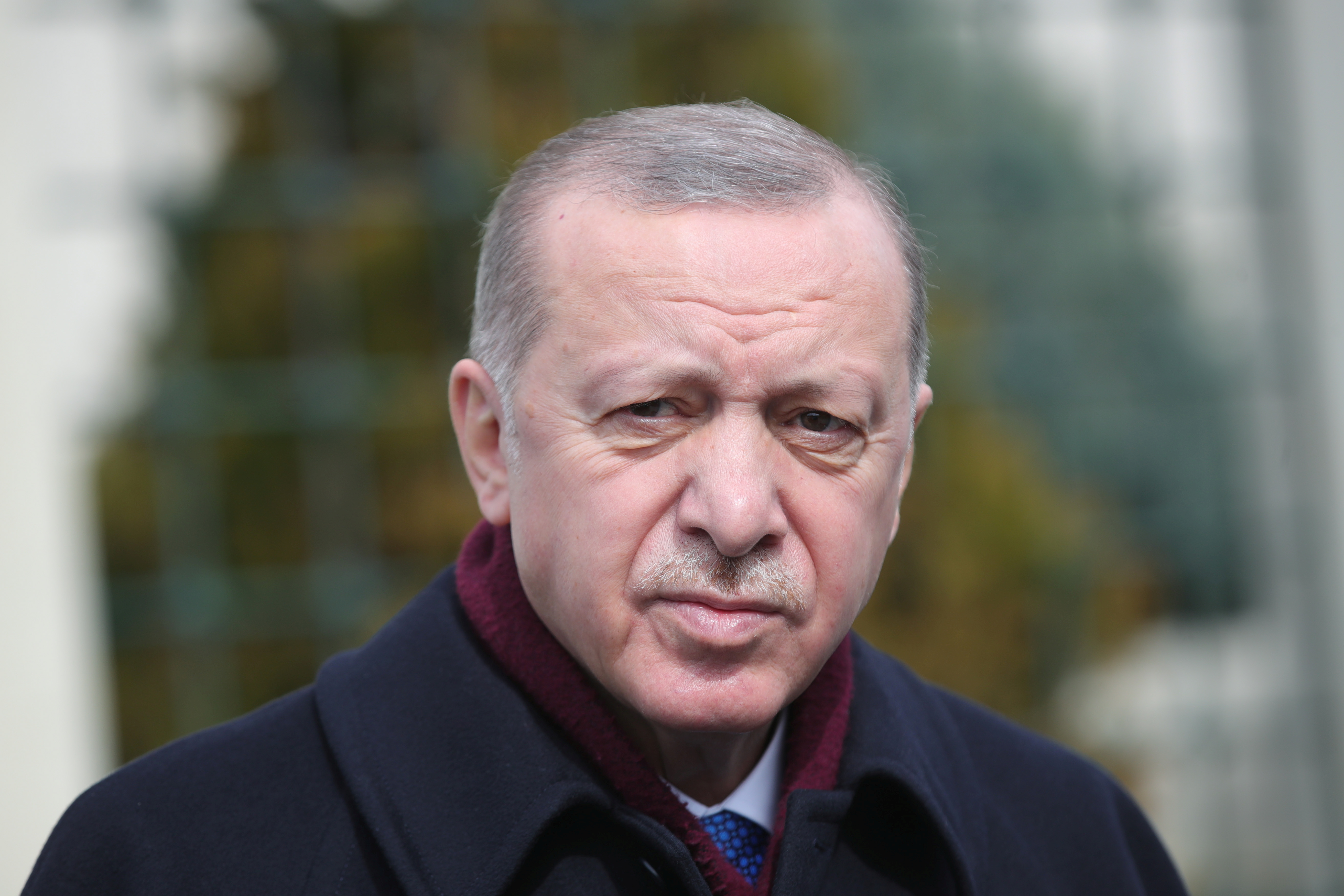 Turkish President Recep Tayyip Erdogan looks on as he addresses the media after the Friday prayers in Istanbul, Turkey March 12, 2021. Presidential Press Office/Handout via REUTERS   ATTENTION EDITORS - THIS PICTURE WAS PROVIDED BY A THIRD PARTY. NO RESALES. NO ARCHIVE