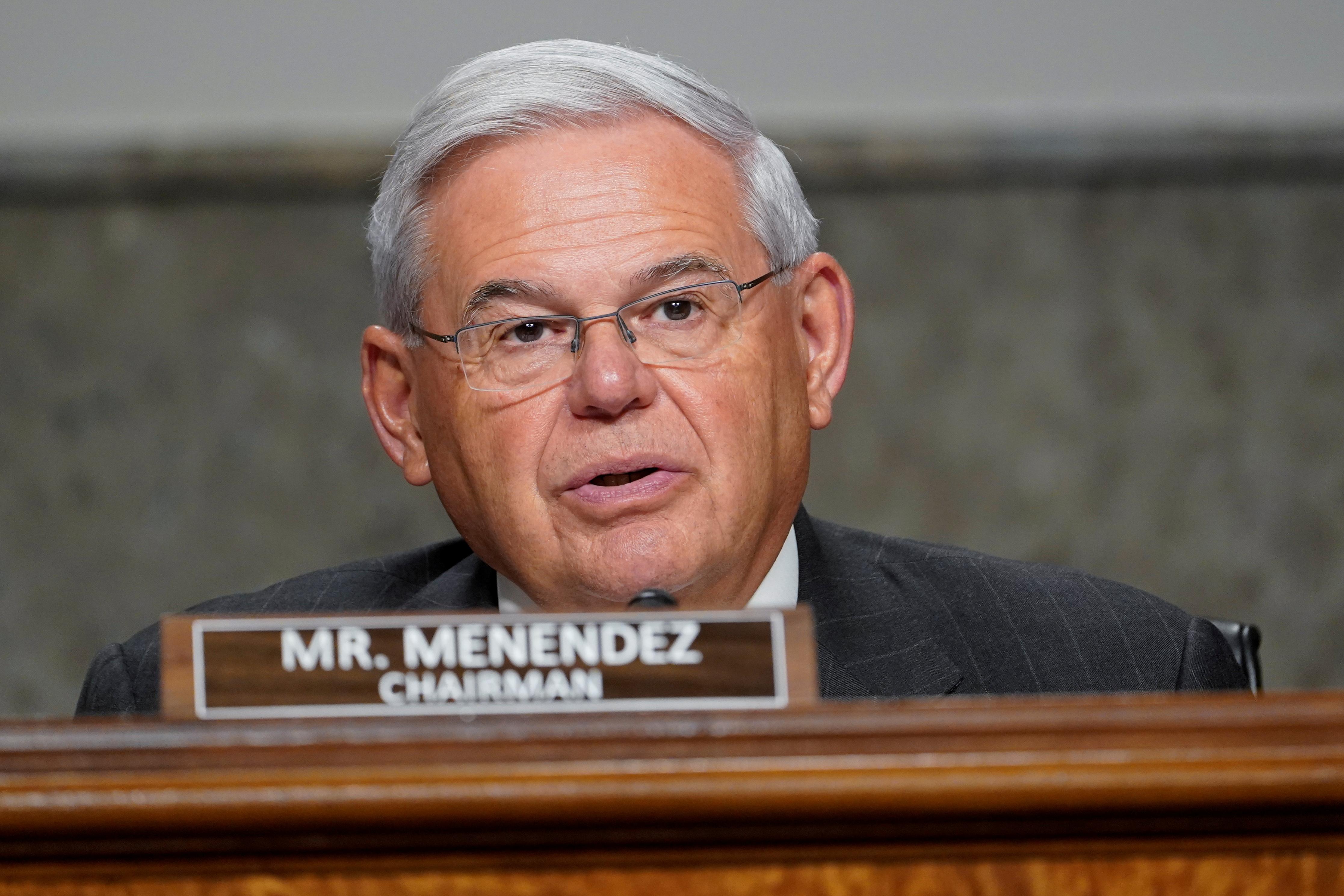 U.S. Senator Robert Menendez (D-NJ) questions Zalmay Khalilzad, special envoy for Afghanistan Reconciliation, during a Senate Foreign Relations Committee hearing on Capitol Hill in Washington, U.S., April 27, 2021. Susan Walsh/Pool via REUTERS