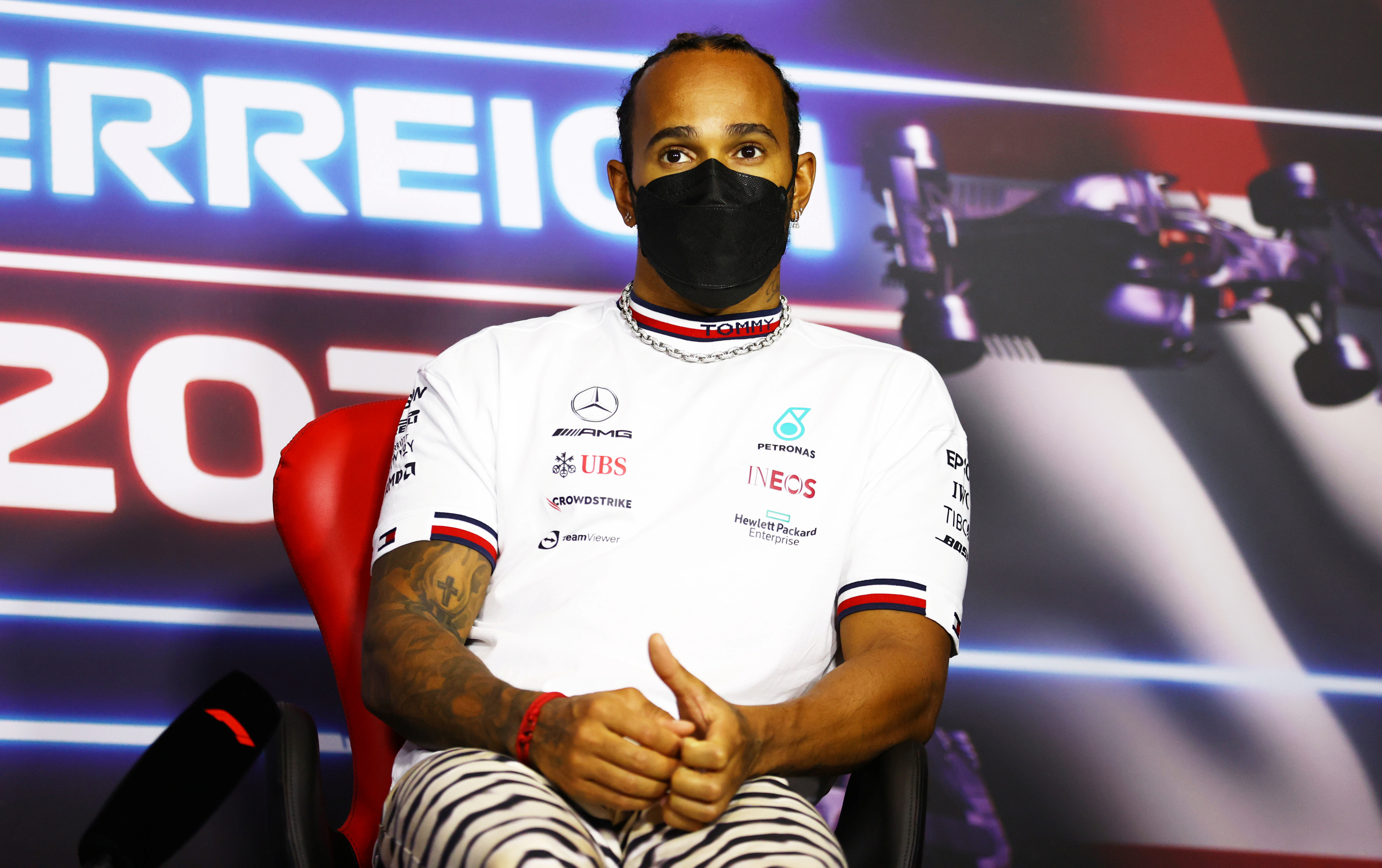 Formula One F1 - Austrian Grand Prix - Red Bull Ring, Spielberg, Styria, Austria - July 1, 2021 Mercedes' Lewis Hamilton during the press conference FIA/Handout via REUTERS