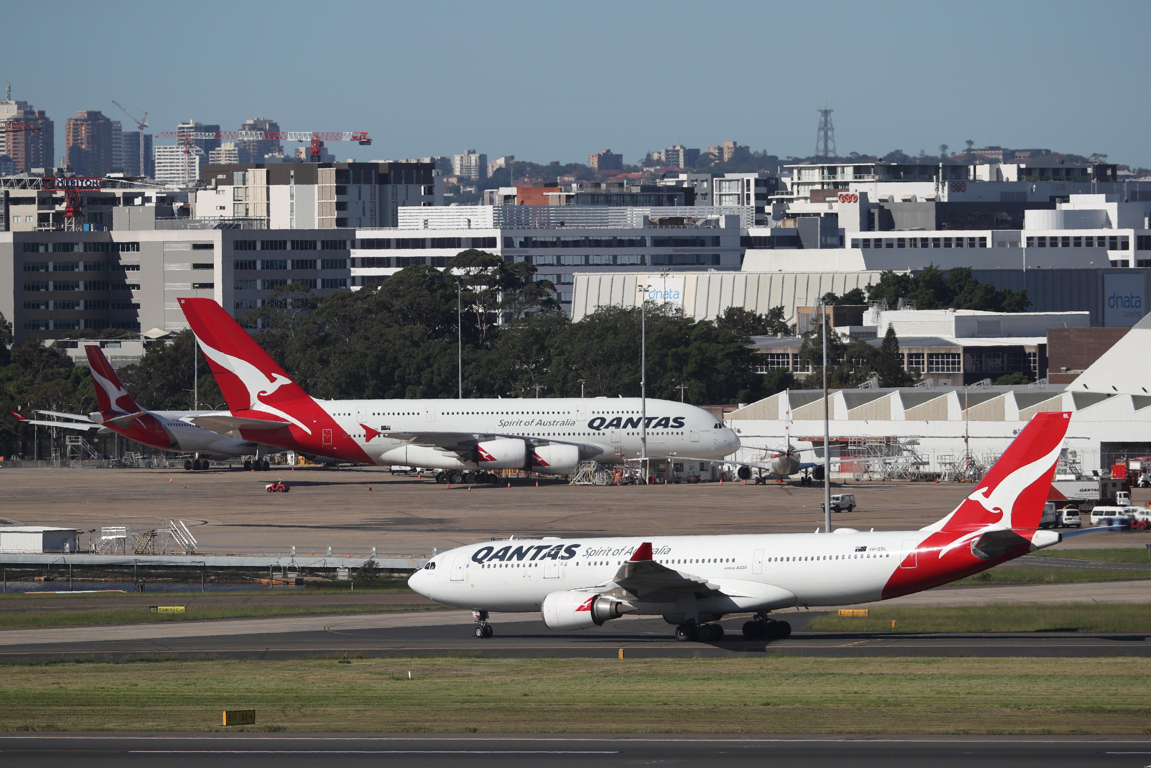 Qantas planes are seen at Kingsford Smith International Airport, following the coronavirus outbreak, in Sydney, Australia, March 18, 2020.  REUTERS/Loren Elliott