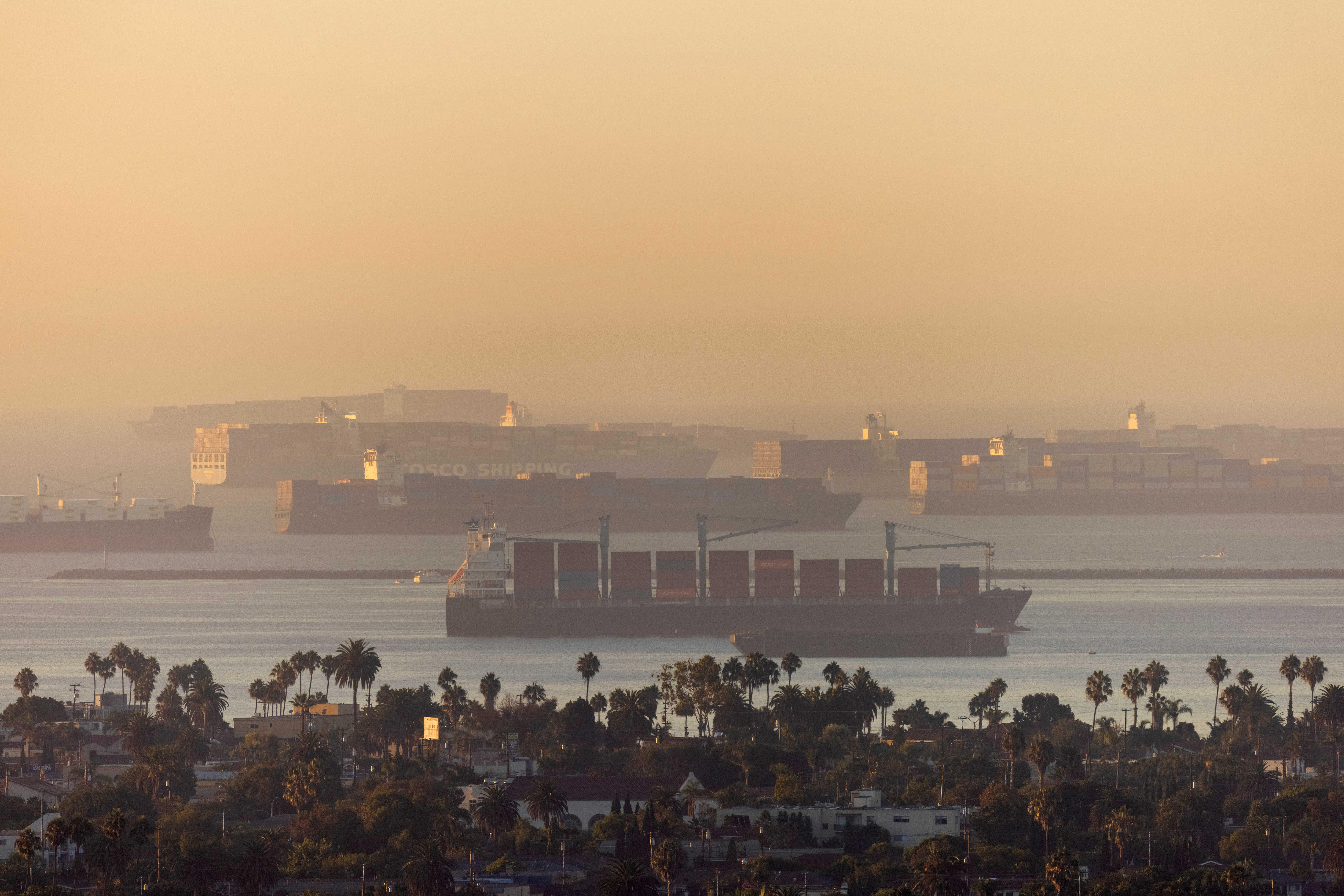 A record number of cargo container ships wait to unload due to the jammed ports of Los Angeles and Long Beach near Long Beach, California, U.S., September 22, 2021. REUTERS/Mike Blake