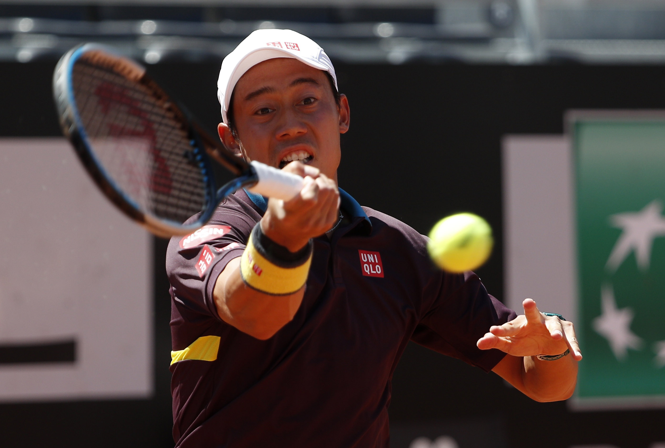 Tennis - ATP Masters 1000 - Italian Open - Foro Italico, Rome, Italy - May 10, 2021  Japan's Kei Nishikori in action during his first round match against Italy's Fabio Fognini REUTERS/Guglielmo Mangiapane