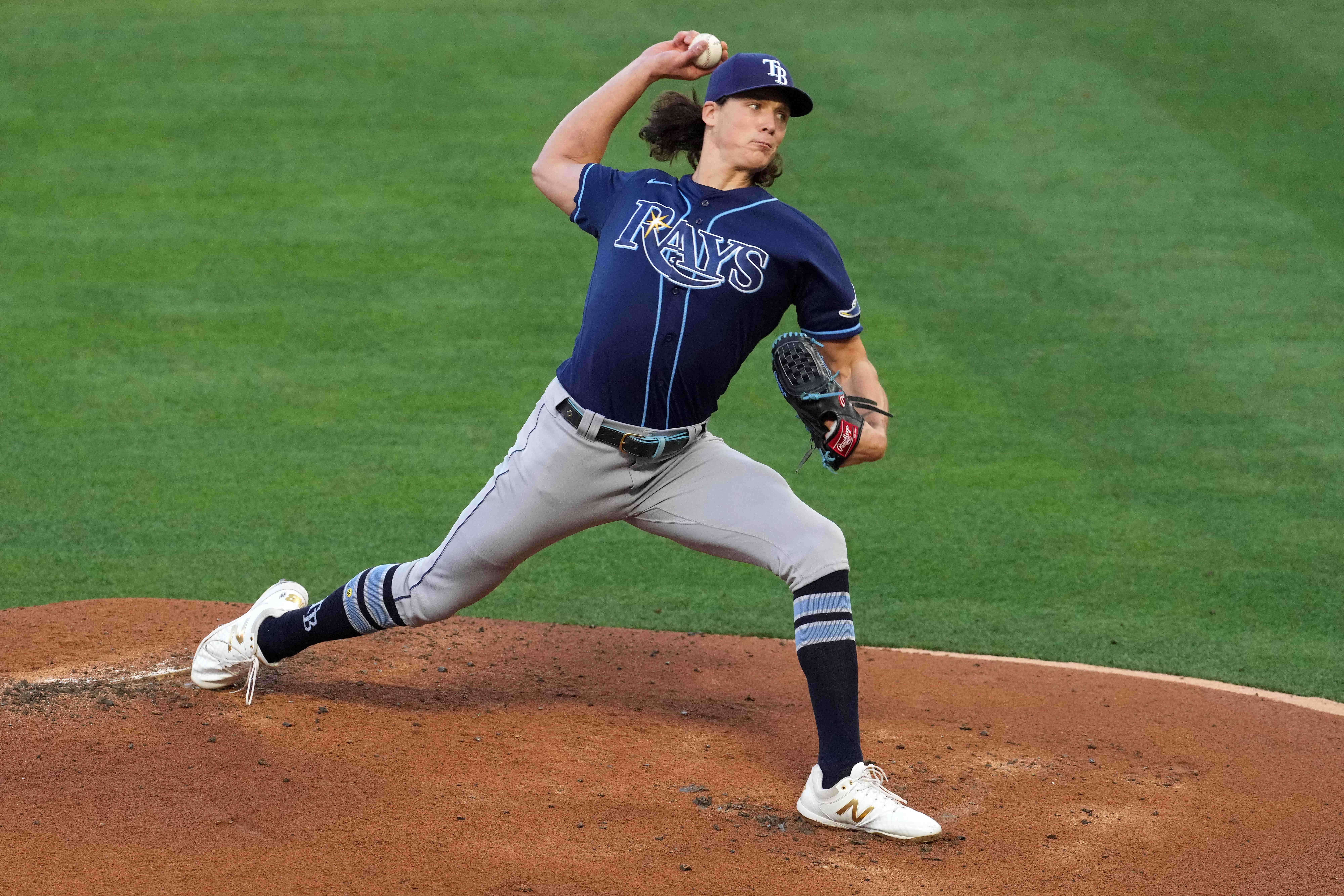 May 3, 2021; Anaheim, California, USA; Tampa Bay Rays starting pitcher Tyler Glasnow (20) delivers a pitch in the first inning against the Los Angeles Angels  at Angel Stadium. Mandatory Credit: Kirby Lee-USA TODAY Sports