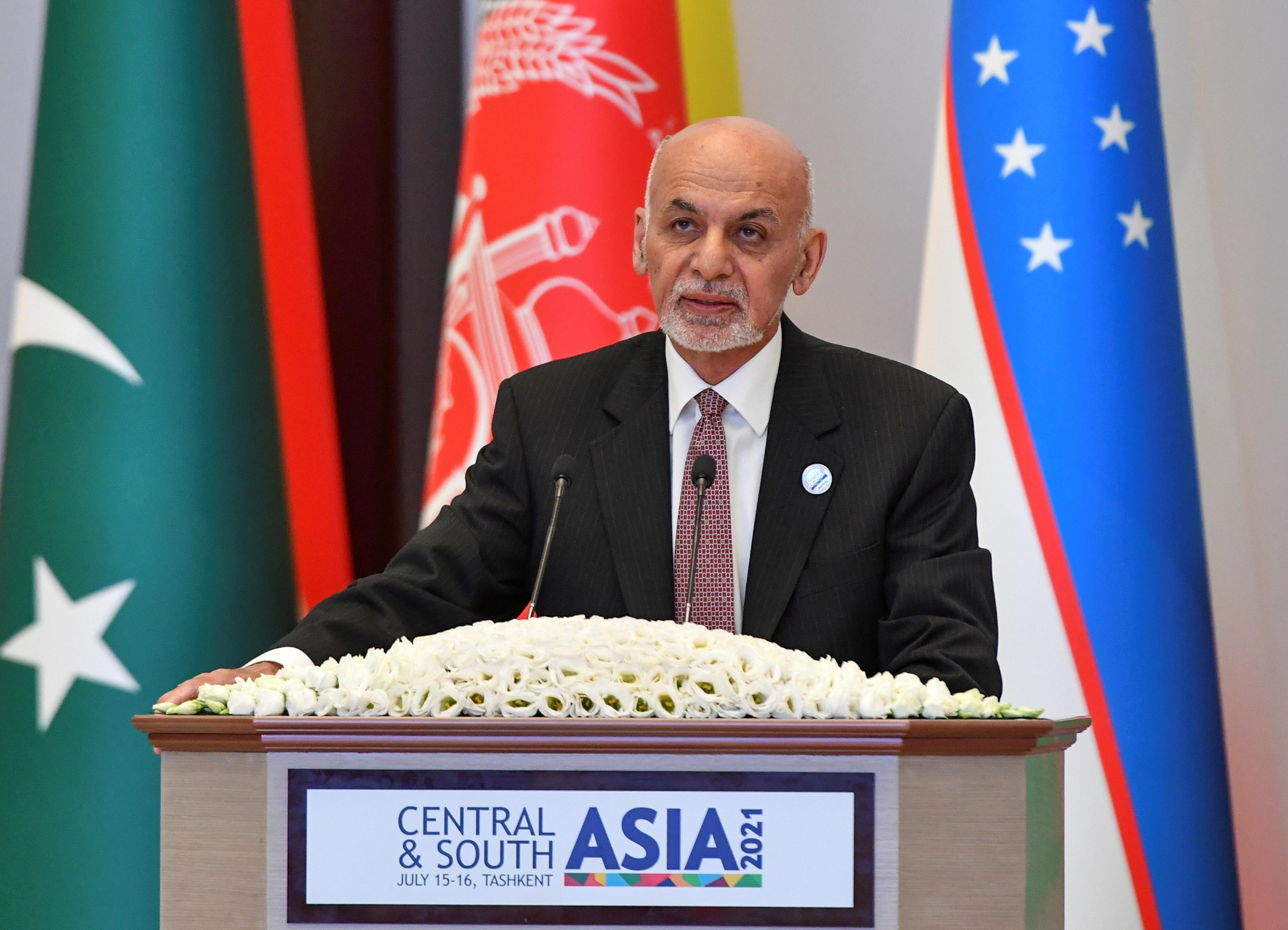 Afghanistan's President Ashraf Ghani attends Central-South Asia trade Summit in Tashkent, Uzbekistan July 16, 2021.  REUTERS/Stringer/File Photo