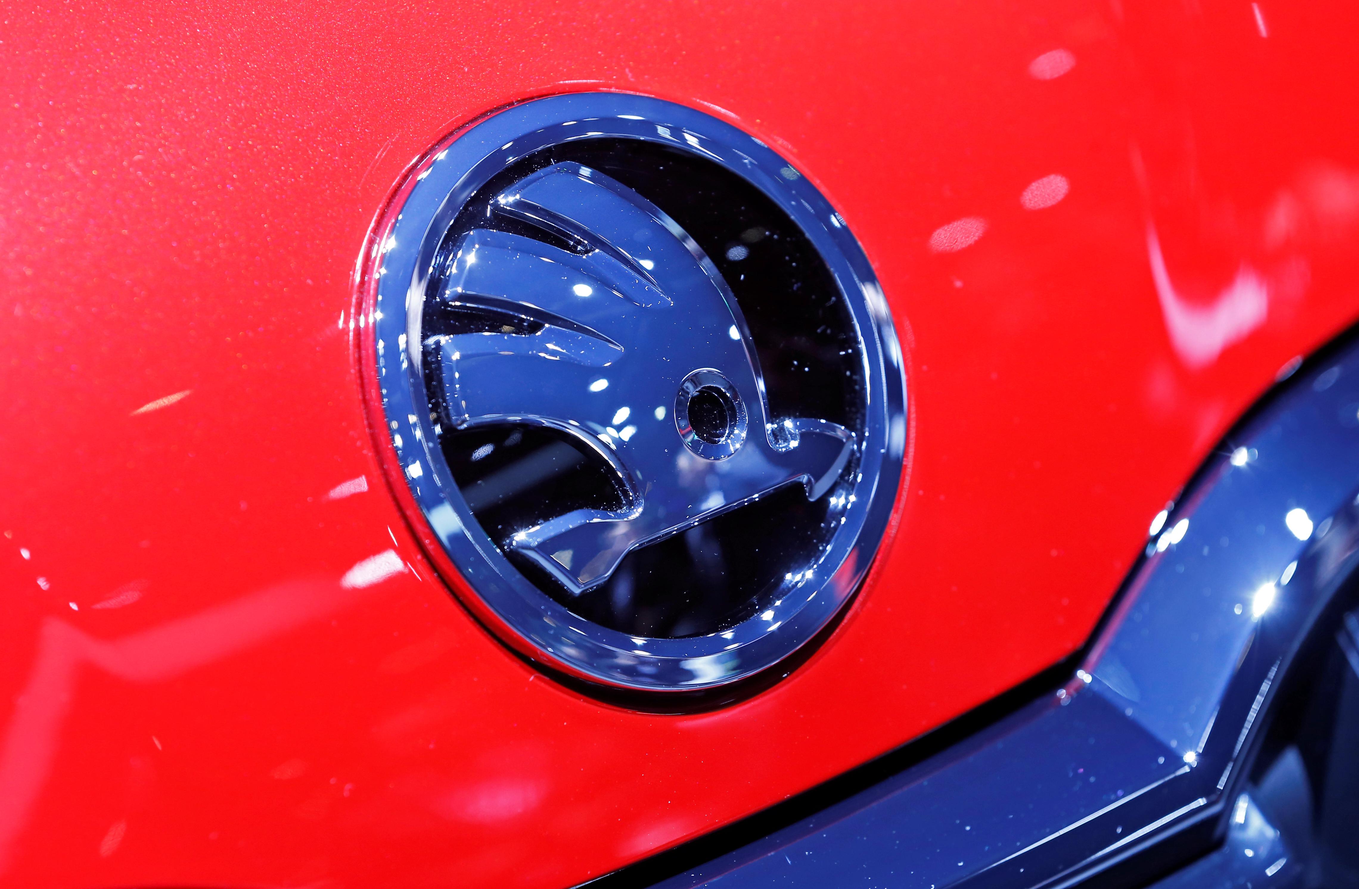A Skoda logo is displayed at the 89th Geneva International Motor Show in Geneva, Switzerland March 5, 2019.  REUTERS/Pierre Albouy