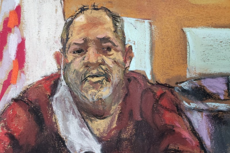 Former movie producer Harvey Weinstein attends a remote court hearing from the Wende Correctional Facility, east of Buffalo, New York, U.S. June 15, 2021 in a court sketch. REUTERS/Jane Rosenberg