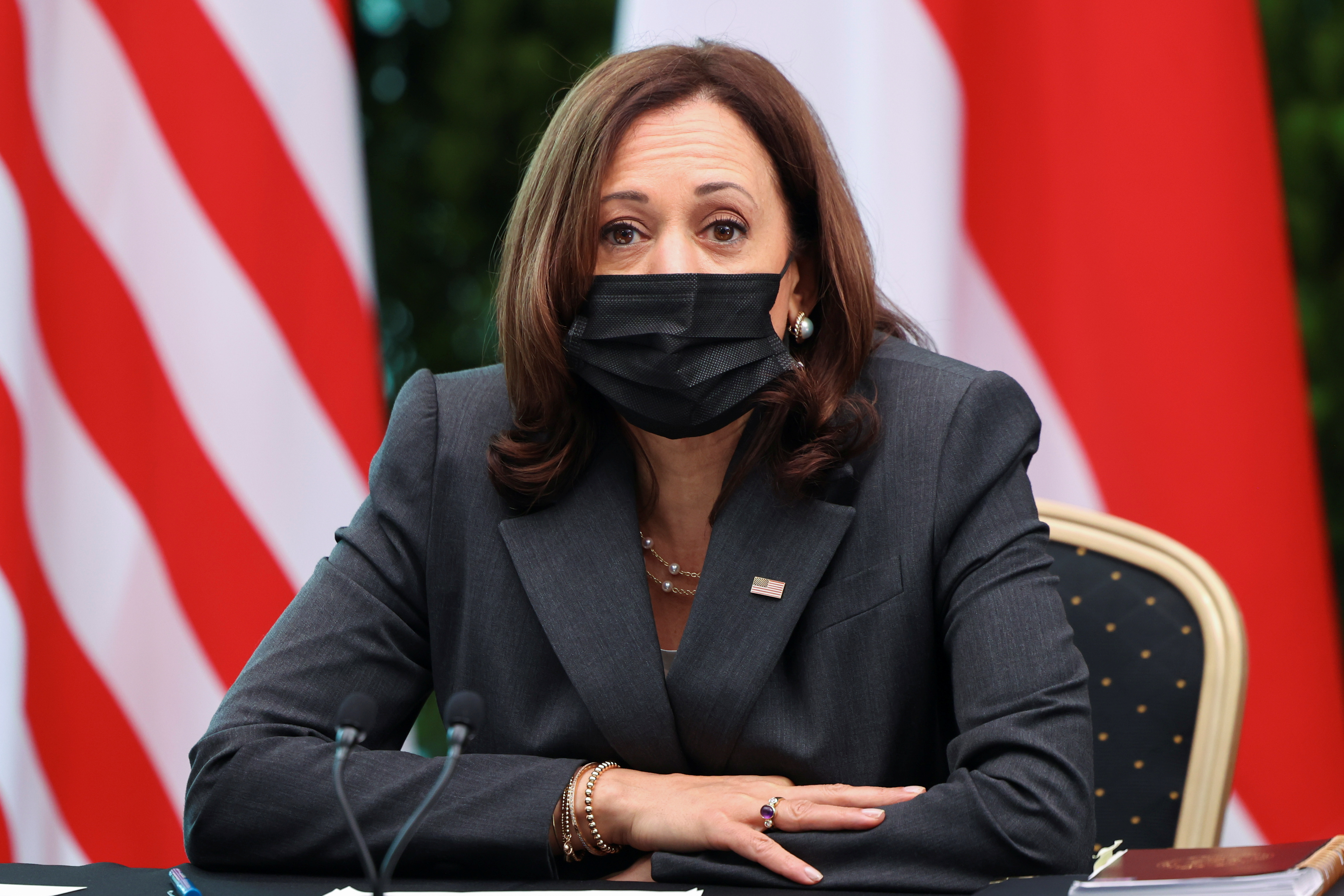 U.S. Vice President Kamala Harris attends a roundtable at Gardens by the Bay in Singapore before departing for Vietnam on the second leg of her Asia trip, August, 24, 2021. REUTERS/Evelyn Hockstein/Pool