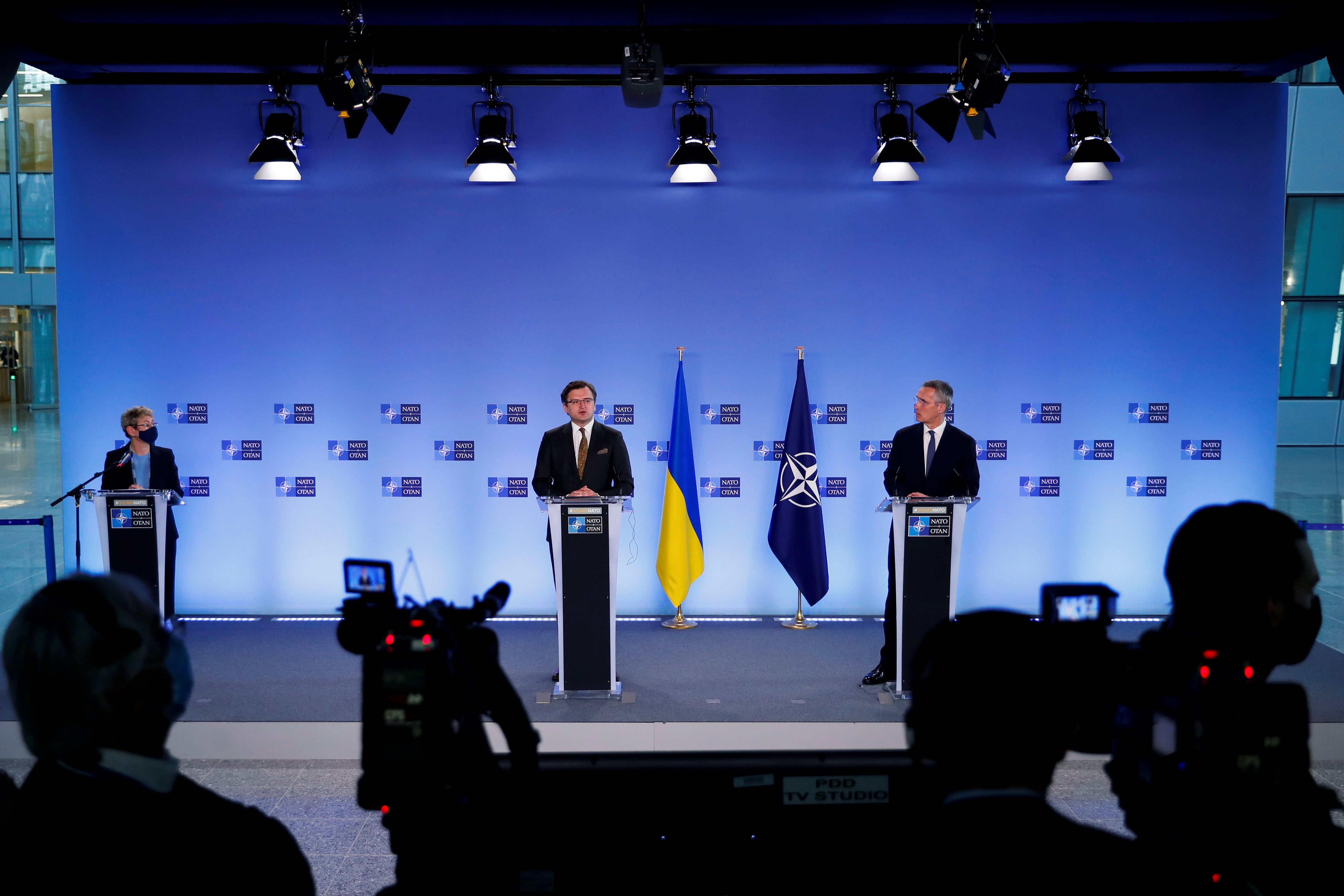 NATO Secretary General Jens Stoltenberg and Ukrainian Foreign Minister Dmytro Kuleba give a press conference at NATO headquarters in Brussels, Belgium, April 13, 2021. Francisco Seco/Pool via REUTERS