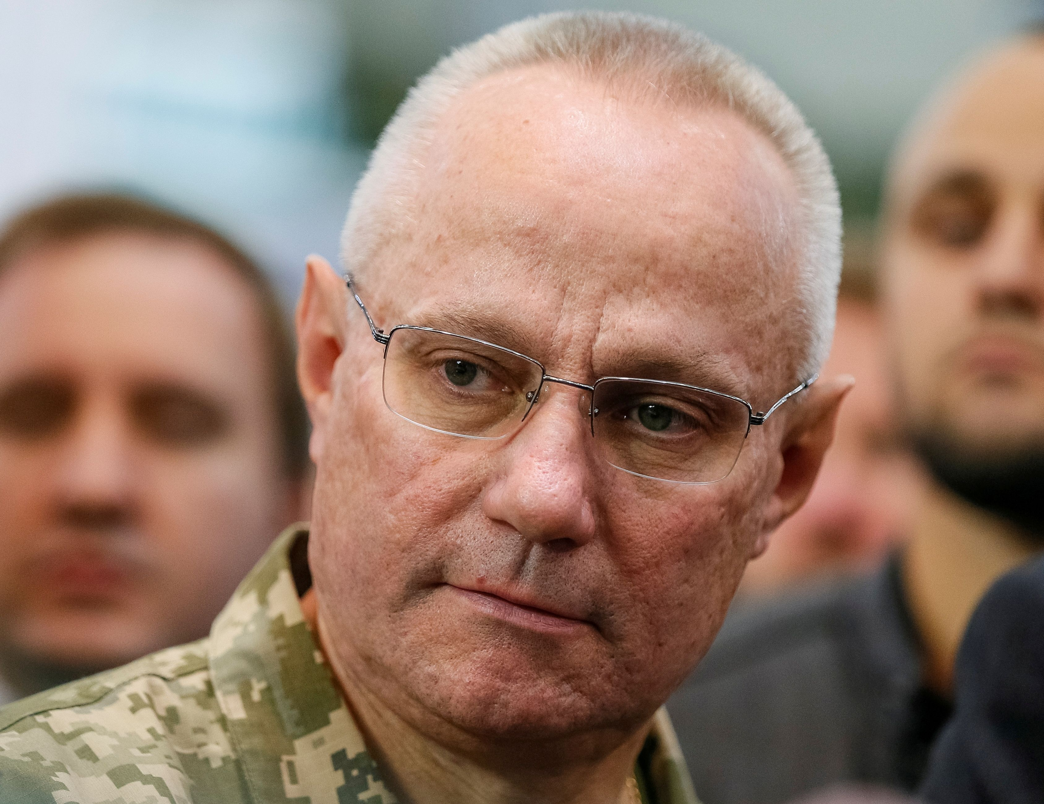 Chief of the General Staff of Ukraine's armed forces Ruslan Homchak attends the annual exhibition of weaponry and military equipment