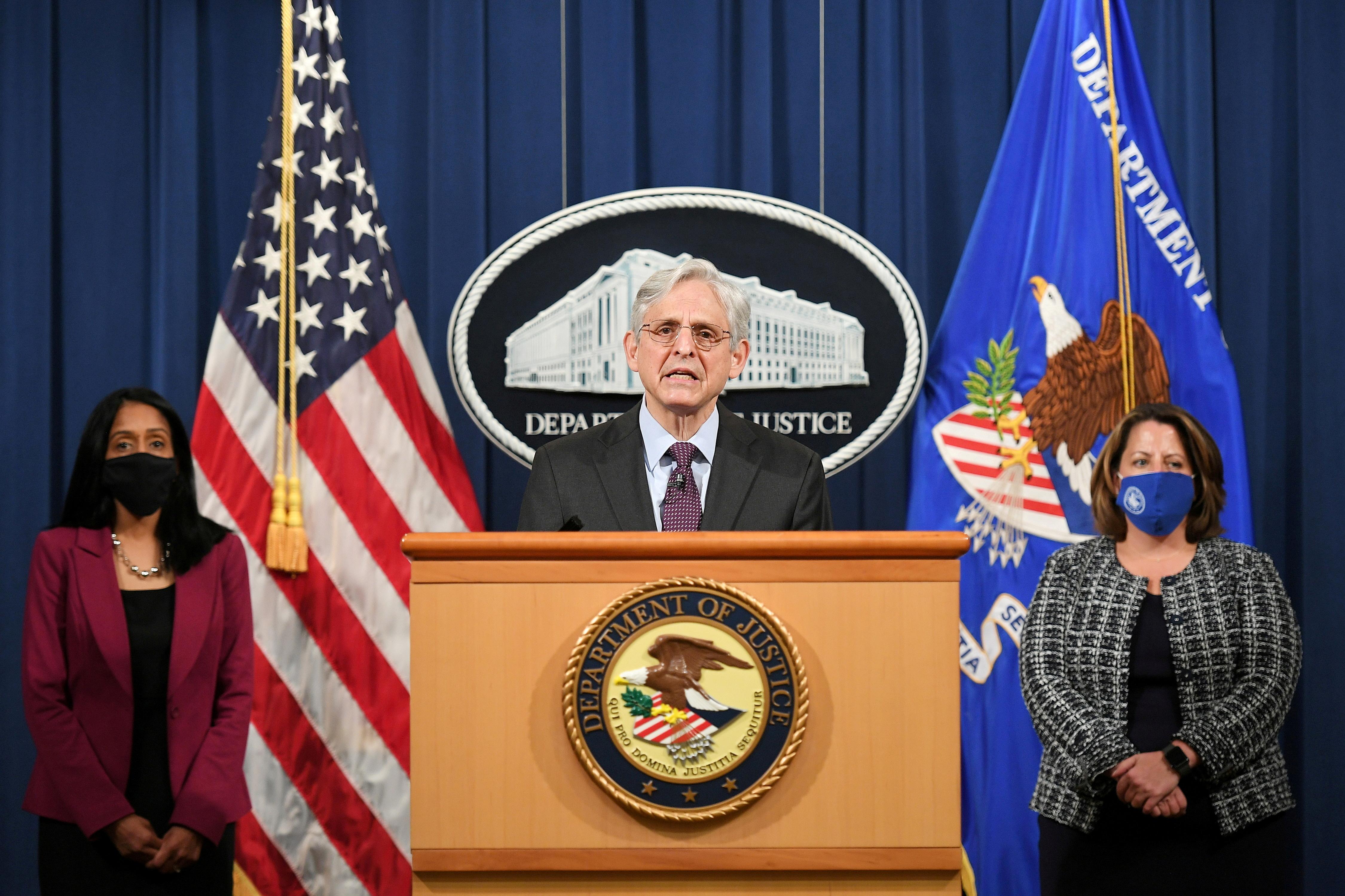 U.S. Attorney General Merrick Garland speaks at the Department of Justice in Washington, U.S. April 26, 2021. Mandel Ngan/Pool via REUTERS/File Photo