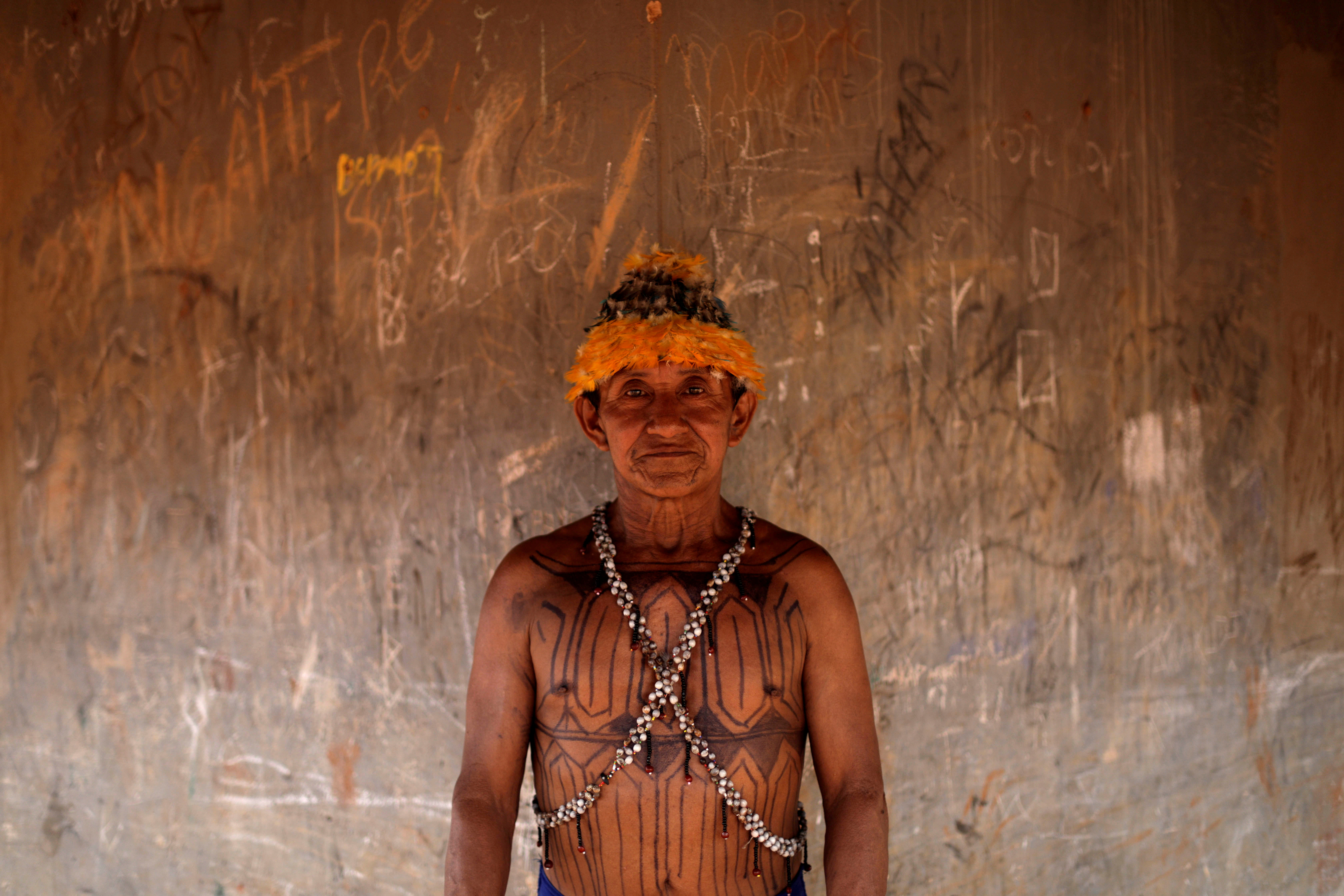 Geraldo, from Munduruku tribe poses for a picture during a four-day pow wow in Piaracu village, in Xingu Indigenous Park, near Sao Jose do Xingu, Mato Grosso state, Brazil, January 15, 2020. Picture taken January 15, 2020. When asked what the importance of nature would be or what they expect for the future of their people, said: